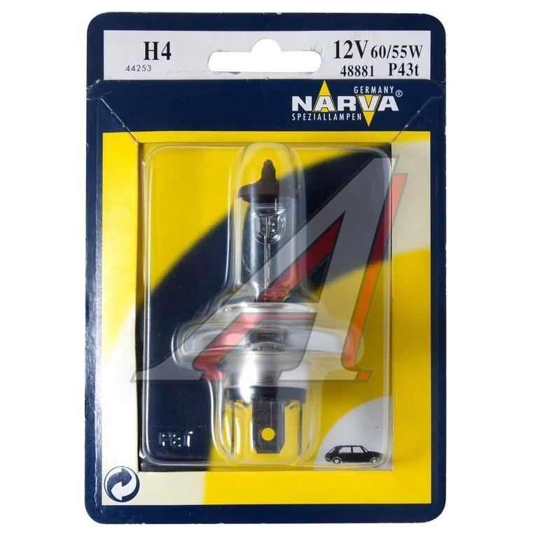 Лампа автомобильная Narva H4 12V-60/55W (P43t) (блистер 1шт) 488811.645-370.0Галогенные лампы NARVA пригодны для всех современных автомобилей, оборудованных фарами головного света, предусматривающими использование галогенных ламп. Эти лампы могут использоваться круглый год в любых погодных условияхНапряжение: 12 вольт