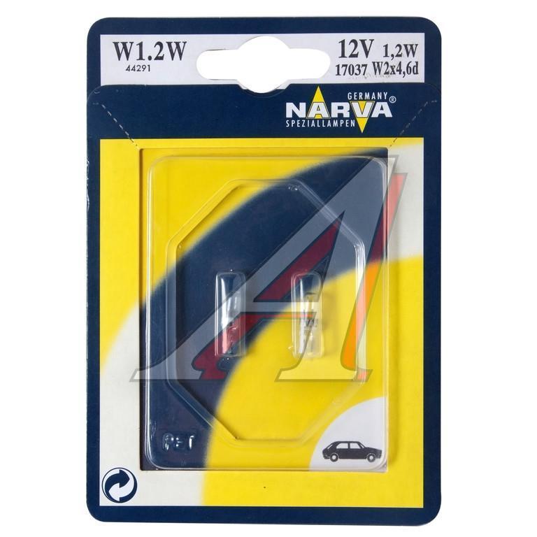 Лампа автомобильная Narva W1,2W 12V-1,2W (W2x4,6d) (2шт.) 17037112825Для «NARVA» ориентация на клиента означает работу в тесном контакте с потребителем. «NARVA» предоставляет самый надежный инструмент, с помощью которого профессионал может решать свои ежедневные задачи. «NARVA» дает возможность мастерским всегда оказывать услуги с надежным уровнем немецкого качества по приемлемой цене.Напряжение: 12 вольт