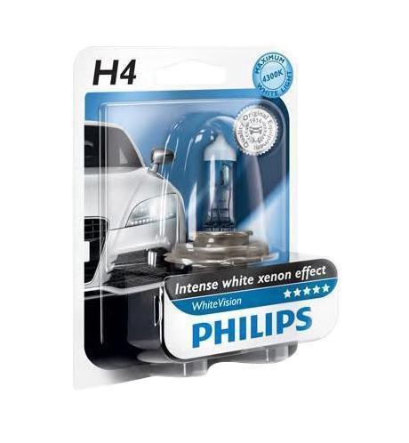 Лампа автомобильная галогенная Philips WhiteVision, для фар, цоколь H4 (P43t), 12V, 60/55W12342WHVB1 (бл.)Галогенная лампа для автомобильных фар Philips WhiteVision произведена из запатентованного кварцевого стекла с УФ фильтром Philips Quartz Glass. Кварцевое стекло Philips в отличие от обычного твердого стекла выдерживает гораздо большее давление смеси газов внутри колбы, что препятствует быстрому испарению вольфрама с нити накаливания. Кварцевое стекло выдерживает большой перепад температур, при попадании влаги на работающую лампу изделие не взрывается и продолжает работать. Лампы Philips WhiteVision излучают интенсивный белый свет с ксеноновым эффектом, что создает идеальные условия для вождения в ночное время. Благодаря повышенной яркости и цветовой температуре до 4300К лампы мгновенно рассеивают темноту: яркость чистого белого света увеличена на 40%. Повышенный уровень безопасности: более длинный световой пучок и на 60% больше света. Это обеспечивает лучшую видимость на дороге и позволяет предотвращать потенциально аварийные ситуации. Обладая цветовой температурой ксеноновых ламп и стильным белым цоколем, лампы WhiteVision идеально подходят для головного освещения.Автомобильные галогенные лампы Philips удовлетворят все нужды автомобилистов: дальний свет, ближний свет, передние противотуманные фары, передние и боковые указатели поворота, задние указатели поворота, стоп-сигналы, фонари заднего хода, задние противотуманные фонари, освещение номерного знака, задние габаритные/стояночные фонари, освещение салона.