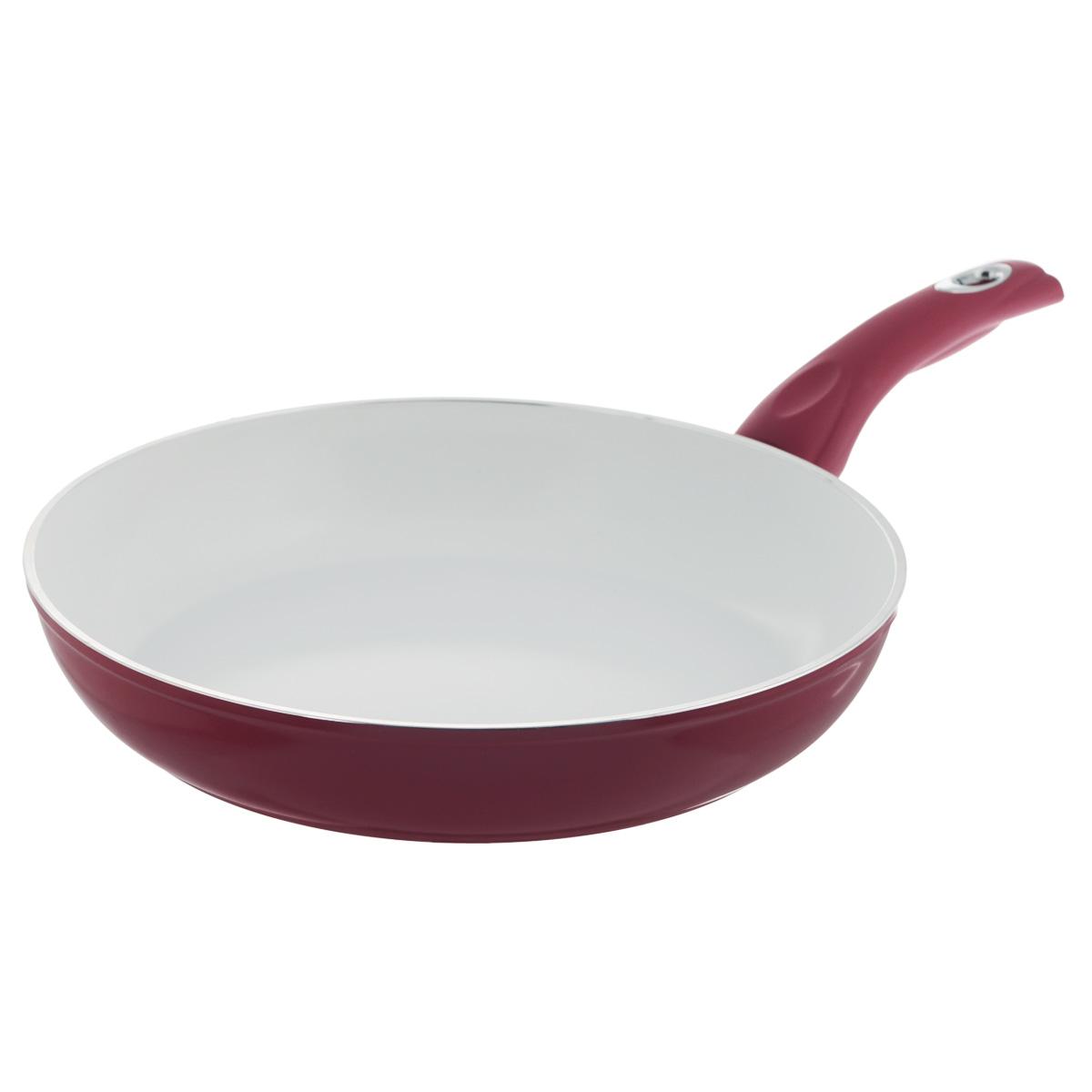 Сковорода Bialetti с керамическим покрытием, цвет: красный. Диаметр 30 см68/5/4Сковорода Bialetti выполнена из жесткого анодированного алюминия с керамическим покрытием. Алюминий - металл прочнее стали, обладает отличными антипригарными свойствами, высокой теплопроводностью. Вам потребуется меньше времени и меньший температурный режим для готовки, т.к. эта посуда нагревается быстрее и сильнее, чем традиционная. Рукоятка специального дизайна, удобна и комфортна в эксплуатации, не нагревается. Внешнее цветное покрытие устойчиво к воздействию высоких температур.Сковорода предназначена для здорового и экологичного приготовления пищи. Пища не пригорает и не прилипает к стенкам. Абсолютно гладкая поверхность легко моется. При производстве посуды Bialetti не используются опасные для окружающей среды компоненты (такие как PFOA), имеющие длительный период распада. Продукцию Bialetti можно использовать на всех типах плит, кроме индукционной. Можно мыть в посудомоечной машине. Высота стенки: 5,5 см. Толщина стенки: 4 мм. Толщина дна: 4 мм. Длина ручки: 20 см. Диаметр основания: 24,5 см.