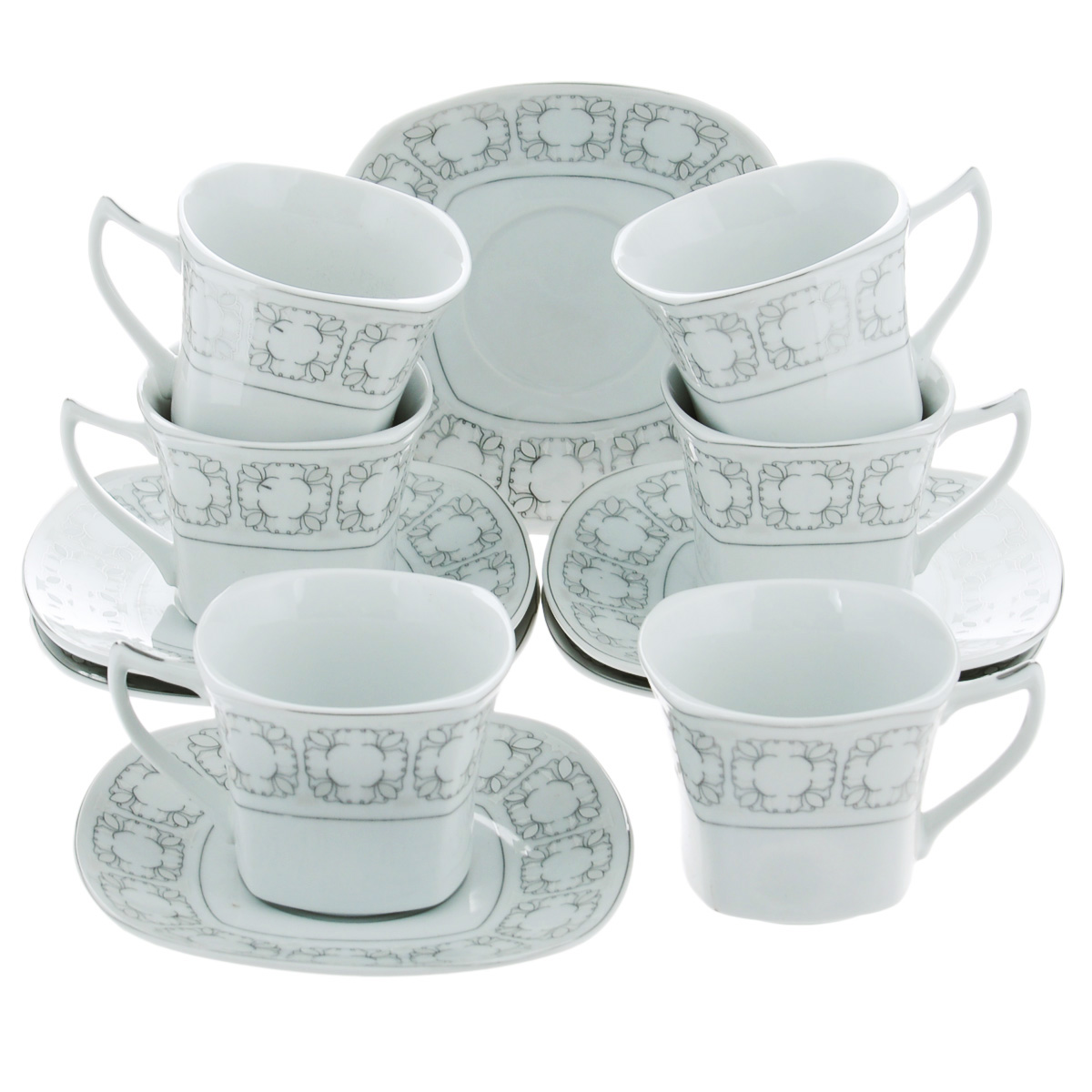 Набор чайный Bekker, 12 предметов. BK-5986115510Чайный набор Bekker состоит из шести чашек и шести блюдец. Предметы набора изготовлены из высококачественного фарфора белого цвета и украшены серебристой эмалью. Изящный орнамент придает набору стильный внешний вид. Чайный набор роскошного дизайна украсит интерьер кухни. Прекрасно подойдет как для торжественных случаев, так и для ежедневного использования.Набор упакован в подарочную картонную коробку серебристого цвета. Подходит для мытья в посудомоечной машине. Объем чашки: 150 мл. Размер чашки (по верхнему краю): 8 см х 8 см. Высота чашки: 6,5 см. Размер блюдца: 14 см х 14 см.