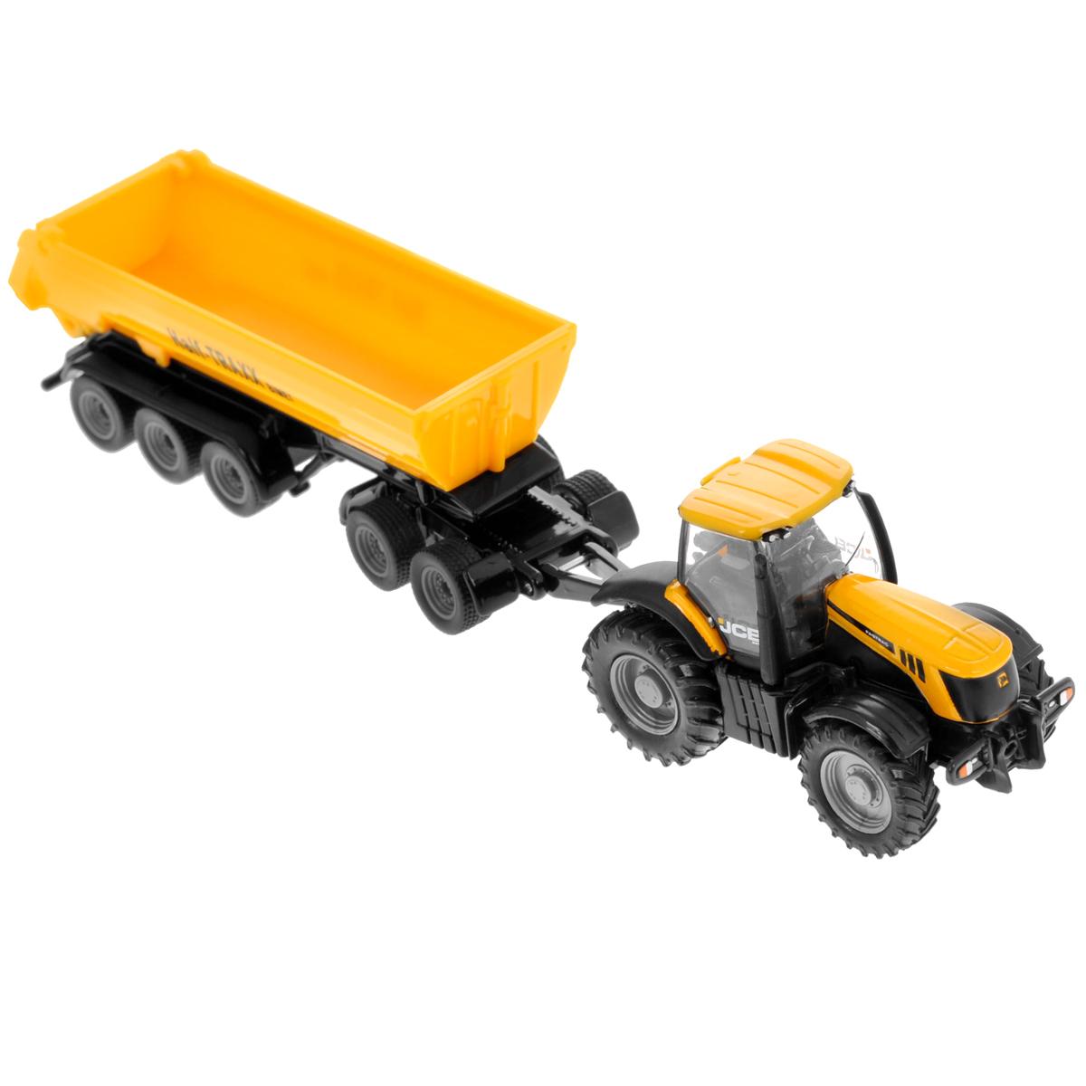 """Коллекционная модель Siku """"Трактор с прицепом-кузовом"""" выполнена в виде точной копии трактора с прицепом в масштабе 1/87. Такая модель понравится не только ребенку, но и взрослому коллекционеру и приятно удивит вас высочайшим качеством исполнения. Корпус трактора и шасси прицепов выполнены из металла, кузов прицепа и кабина трактора из пластика, а стекла кабины трактора из прозрачного пластика. Прицеп кузова прицепляется к трактору с помощью дополнительного прицепа с седельным сцепным устройством. Кабина трактора снимается. Кузов прицепа опрокидывается для выгрузки, задний борт прицепа открывается. Колесики модели вращаются. Коллекционная модель отличается великолепным качеством исполнения и детальной проработкой, она станет не только интересной игрушкой для ребенка, интересующегося агротехникой, но и займет достойное место в коллекции."""