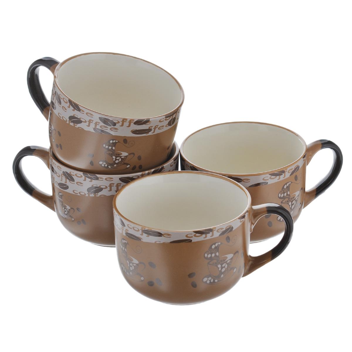 Набор супниц Loraine, цвет: коричневый, 650 мл, 4 шт54 009312Набор Loraine состоит из четырех супниц, выполненных из высококачественной глазурованной керамики. Внешняя поверхность украшена изображением чашек кофе и кофейных зерен, внутренняя поверхность - бежевого цвета. Супницы оснащены ручками. Ровная, идеально гладкая поверхность легко моется и обеспечивает длительный срок службы. Красивый и функциональный набор супниц Loraine оригинально дополнит обеденную сервировку стола и станет незаменимым на любой кухне. Подходит для подачи супов, каш, хлопьев и много другого. Диаметр (по верхнему краю): 12 см. Высота стенки супницы: 9 см.
