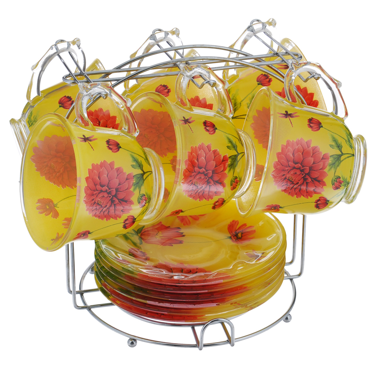 Набор чайный Bekker, 13 предметов. BK-5810VT-1520(SR)Чайный набор Bekker состоит из шести чашек и шести блюдец. Предметы набора изготовлены из высококачественного жаропрочного стекла и оформлены красочным цветочным рисунком. Блюдца круглой формы. В комплекте - металлическая хромированная подставка с шестью крючками для подвешивания кружек и подставкой для блюдец.Чайный набор яркого и в тоже время лаконичного дизайна украсит интерьер кухни и сделает ежедневное чаепитие настоящим праздником. Подходит для мытья в посудомоечной машине. Объем чашки: 220 мл. Диаметр чашки (по верхнему краю): 9 см. Высота чашки: 7,5 см. Диаметр блюдца: 13,8 см. Размер подставки: 18 см х 18 см х 19,5 см.