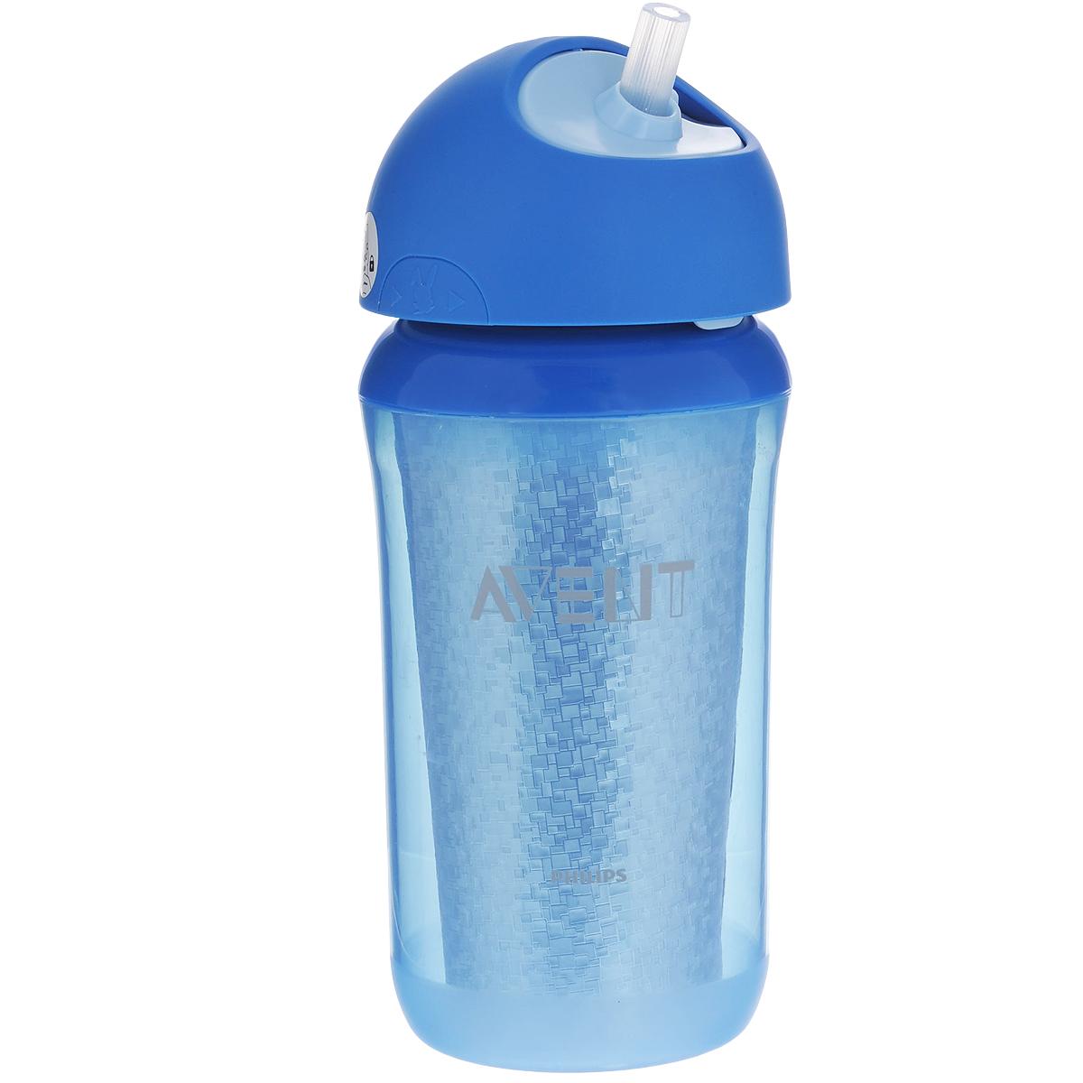 """Поильник-термочашка """"Avent"""", выполненный из полипропилена (не содержит бисфенол А), специально разработан для малышей от 1 года. Корпус поильника с изолирующими стенками позволяет напиткам долго сохранять свою температуру и свежесть. Крышка поильника плотно герметично закручивается и благодаря цельному клапану, исключает проливание жидкости, даже если малыш перевернет поильник. Силиконовая трубочка термочашки удобна для питья и безопасна для нежных десен ребенка."""