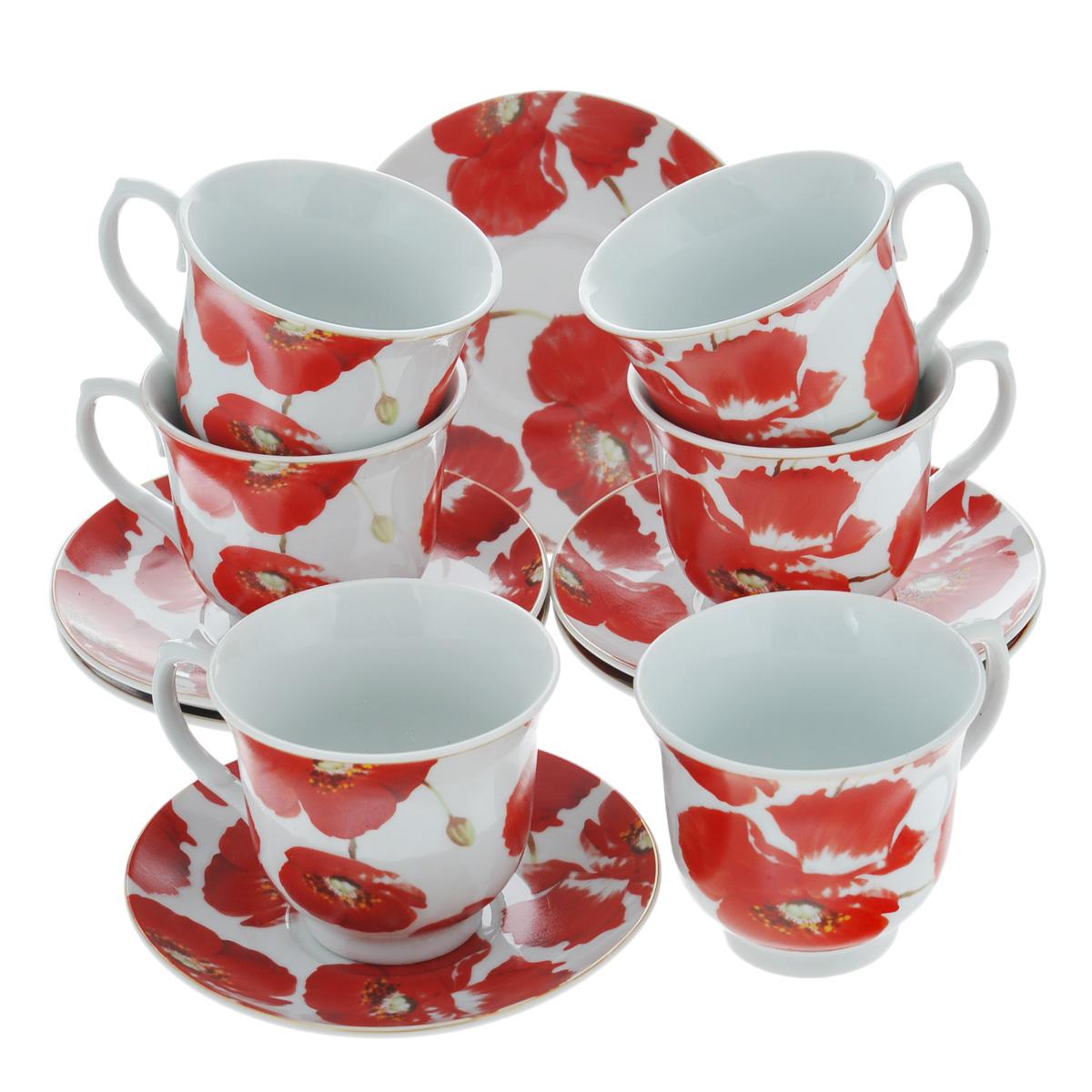 Набор чайный Bekker, 12 предметов. BK-5977115510Чайный набор Bekker состоит из шести чашек и шести блюдец. Предметы набора изготовлены из высококачественного фарфора белого цвета и украшены ярким изображением красных маков. Чайный набор яркого и в тоже время лаконичного дизайна украсит интерьер кухни и сделает ежедневное чаепитие настоящим праздником.Набор упакован в круглую подарочную картонную коробку золотистого цвета. Подходит для мытья в посудомоечной машине. Объем чашки: 220 мл. Диаметр чашки (по верхнему краю): 9 см. Высота чашки: 7,5 см. Диаметр блюдца: 14 см.