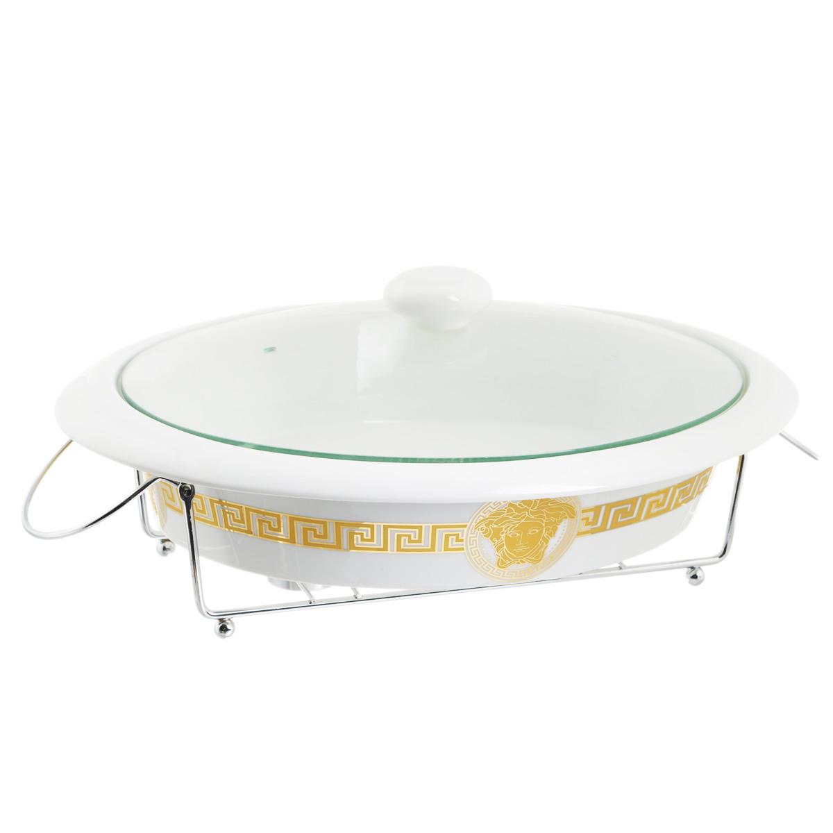 Супница Mayer & Boch с крышкой, на подставке, 2,3 л. 24219VT-1520(SR)Супница Mayer & Boch, изготовленная из жаропрочной керамики, подходит для любого вида пищи. Изделие декорировано оригинальным орнаментом. В комплект входит стеклянная крышка и металлическая подставка с местом для 2 свечей.Изделие идеально подходит для приготовления пищи, разогрева блюд и подачи на стол. Материал не содержит свинца и кадмия. С такой супницей вы всегда сможете порадовать своих близких оригинальным блюдом.Форму можно использовать в духовке и холодильнике. Можно мыть в посудомоечной машине.Размер супницы (с учетом ручек): 38,5 см х 29,5 см.Высота стенок: 7 см.Размер подставки: 33 см х 26 см х 9 см. Объем: 2,3 л.