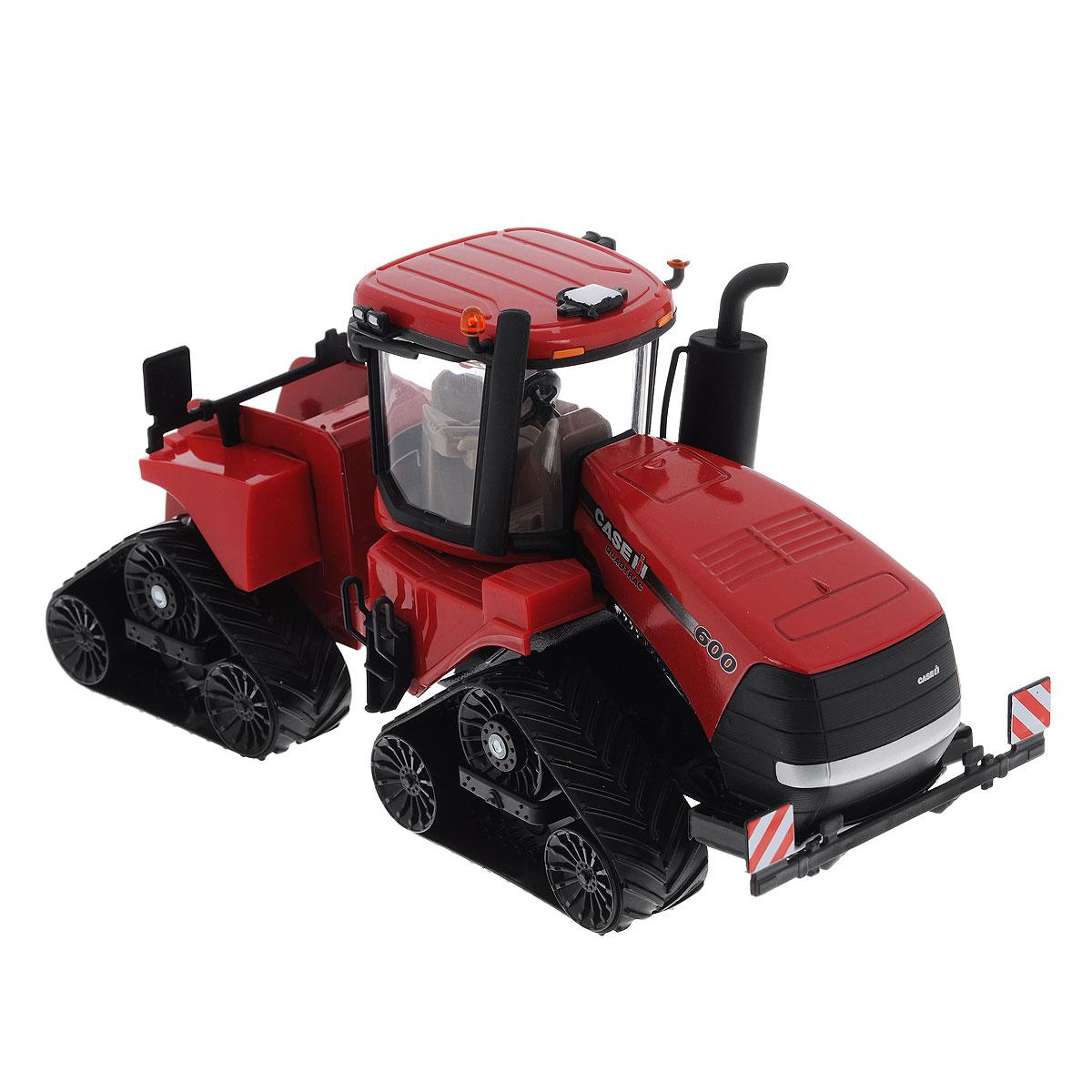 """Коллекционная модель Siku """"Трактор Case IH Quadtrac 600"""" выполнена в виде точной копии гусеничного трактора в масштабе 1/32. Такая модель понравится не только ребенку, но и взрослому коллекционеру и приятно удивит вас высочайшим качеством исполнения. Корпус трактора выполнен из металла, кабина из пластика, а стекла кабины трактора из прозрачного пластика. Трактор снабжен гусеничным механизмом со свободным ходом, что обеспечивает игрушке устойчивость и хорошую проходимость. Кабина трактора снимается. Колесики модели вращаются. Коллекционная модель отличается великолепным качеством исполнения и детальной проработкой, она станет не только интересной игрушкой для ребенка, интересующегося агротехникой, но и займет достойное место в коллекции."""