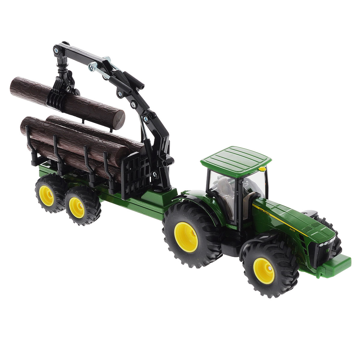 """Коллекционная модель Siku """"Трактор с прицепом-кузовом"""" выполнена в виде точной копии трактора с прицепом в масштабе 1/50. Такая модель понравится не только ребенку, но и взрослому коллекционеру и приятно удивит вас высочайшим качеством исполнения. Корпус трактора и шасси прицепов выполнены из металла, кабина трактора из пластика, а стекла кабины трактора из прозрачного пластика. Прицеп кузова прицепляется к трактору с помощью дополнительного прицепа с седельным сцепным устройством. Кабина трактора снимается. Колёса выполнены из резины и вращаются. Передняя часть погрузчика поворачивается, стрела и ковш поднимаются и опускаются. Коллекционная модель отличается великолепным качеством исполнения и детальной проработкой, она станет не только интересной игрушкой для ребенка, интересующегося агротехникой, но и займет достойное место в коллекции."""