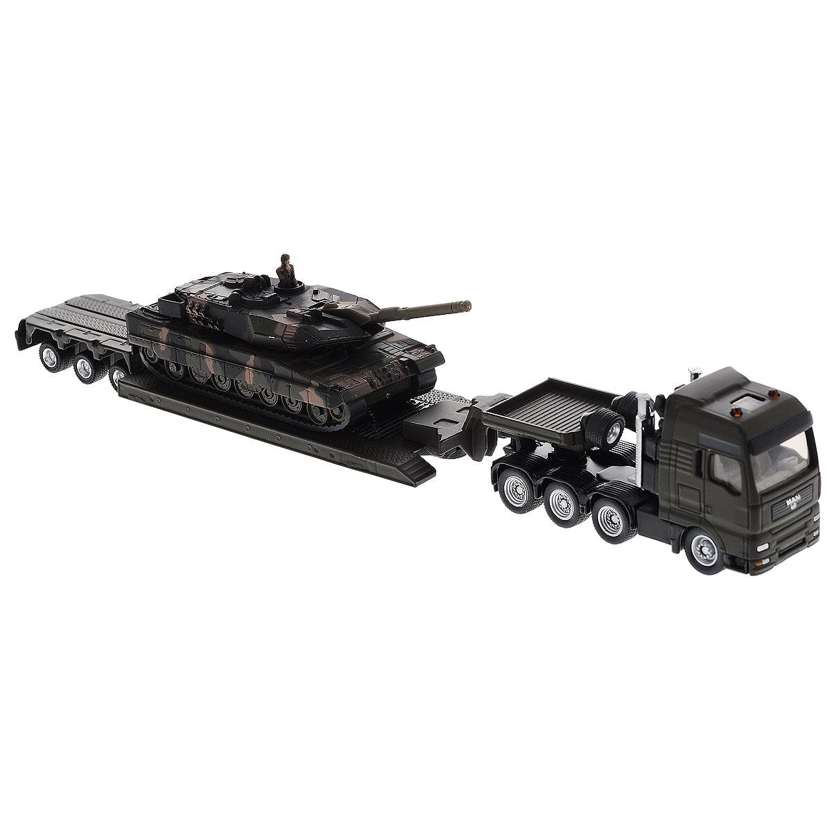 """Коллекционная модель Siku """"Тягач с танком"""" выполнена в виде точной копии тягача с танком в масштабе 1/87. Такая модель понравится не только ребенку, но и взрослому коллекционеру и приятно удивит вас высочайшим качеством исполнения. Кабина, корпус тягача, платформа прицепа и танк выполнены из металла. Платформа прицепа прицепляется к тягачу с помощью дополнительного прицепа с седельным сцепным устройством. Колесики модели вращаются. Коллекционная модель отличается великолепным качеством исполнения и детальной проработкой, она станет не только интересной игрушкой для ребенка, интересующегося агротехникой, но и займет достойное место в коллекции."""