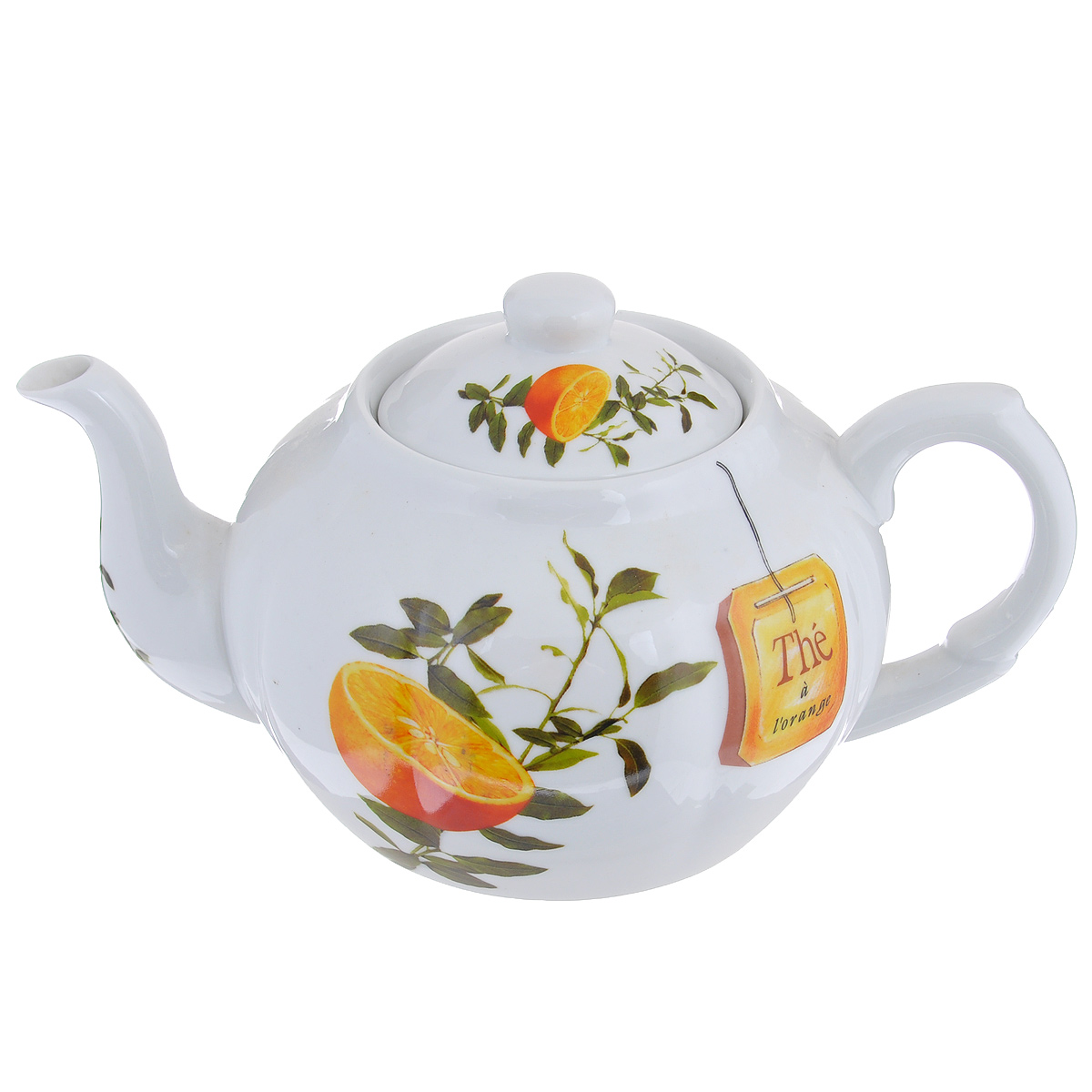 Чайник заварочный Larange Апельсин, 1 л115510Чайник Larange Апельсин выполнен из высококачественного фарфора. Чайник декорирован изображением апельсинов. Чайник Larange Апельсин предназначен для заваривания чая. Элегантный дизайн и совершенные формы чайника привлекут к себе внимание и украсят интерьер вашей кухни. Чайник Larange Апельсин будет не только прекрасным украшением вашего стола, но и отличным подарком к любому празднику. Не использовать в микроволновой печи. Не применять абразивные чистящие вещества. Диаметр чайника по верхнему краю: 8,5 см.Высота чайника: 9,5 см.Диаметр дна чайника: 9 см. Длина чайника (с учетом ручки и носика): 23 см.