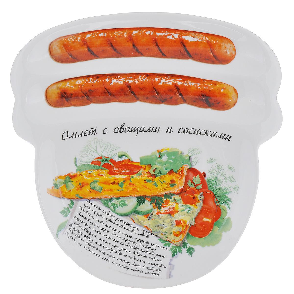 Блюдо для сосисок Larangе Омлет с овощами и сосисками, 23 х 22,7 х 1,6 см115510Блюдо для сосисок Larange Омлет с овощами и сосисками изготовлено из высококачественной керамики. Изделие украшено изображением двух сосисок и рецепта омлета с овощами и сосисками. Тарелка имеет три отделения: два маленьких отделения для сосисок и одно большое отделение для яичницы или другого блюда. В комплект входят лучшие рецепты от шефа. Можно использовать в СВЧ печах, духовом шкафу, холодильнике. Можно мыть в посудомоечной машине. Не применять абразивные чистящие вещества. Размер блюда: 23 см х 22,7 см х 1,6 см.