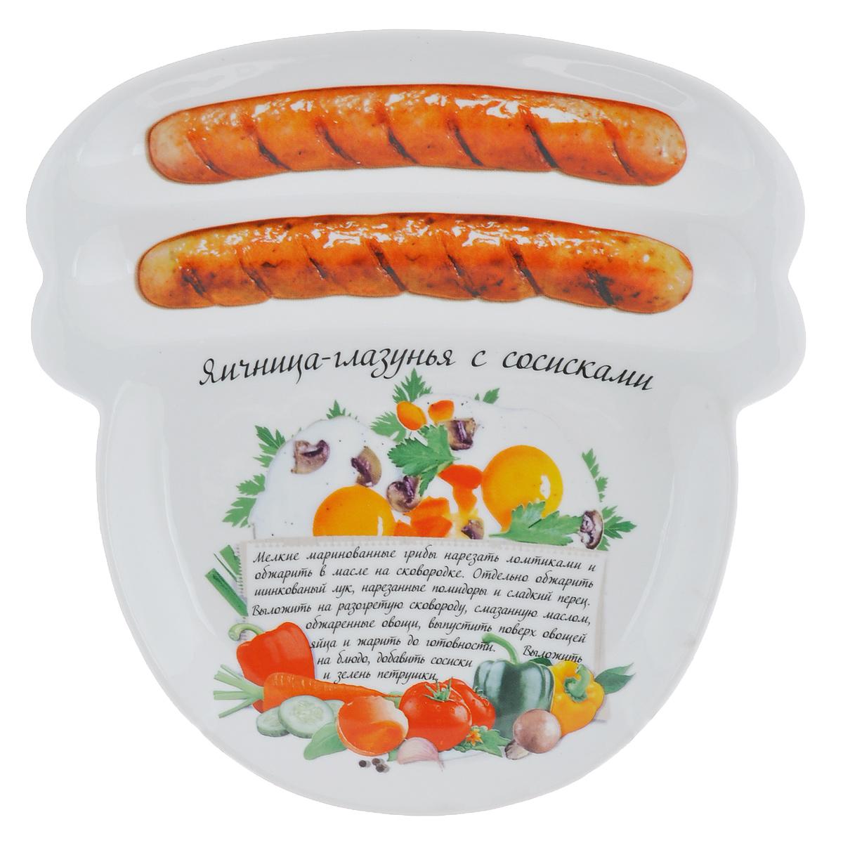Блюдо для сосисок Larangе Яичница-глазунья с сосисками, 23 см х 22,7 см х 1,6 смIM35031-A218ALБлюдо для сосисок Larange Яичница-глазунья с сосисками изготовлено из высококачественной керамики. Изделие украшено изображением двух сосисок и рецепта яичницы-глазуньи с сосисками. Тарелка имеет три отделения: два маленьких отделения для сосисок и одно большое отделение для яичницы или другого блюда. В комплект входят лучшие рецепты от шефа. Можно использовать в СВЧ печах, духовом шкафу, холодильнике. Можно мыть в посудомоечной машине. Не применять абразивные чистящие вещества. Размер блюда: 23 см х 22,7 см х 1,6 см.