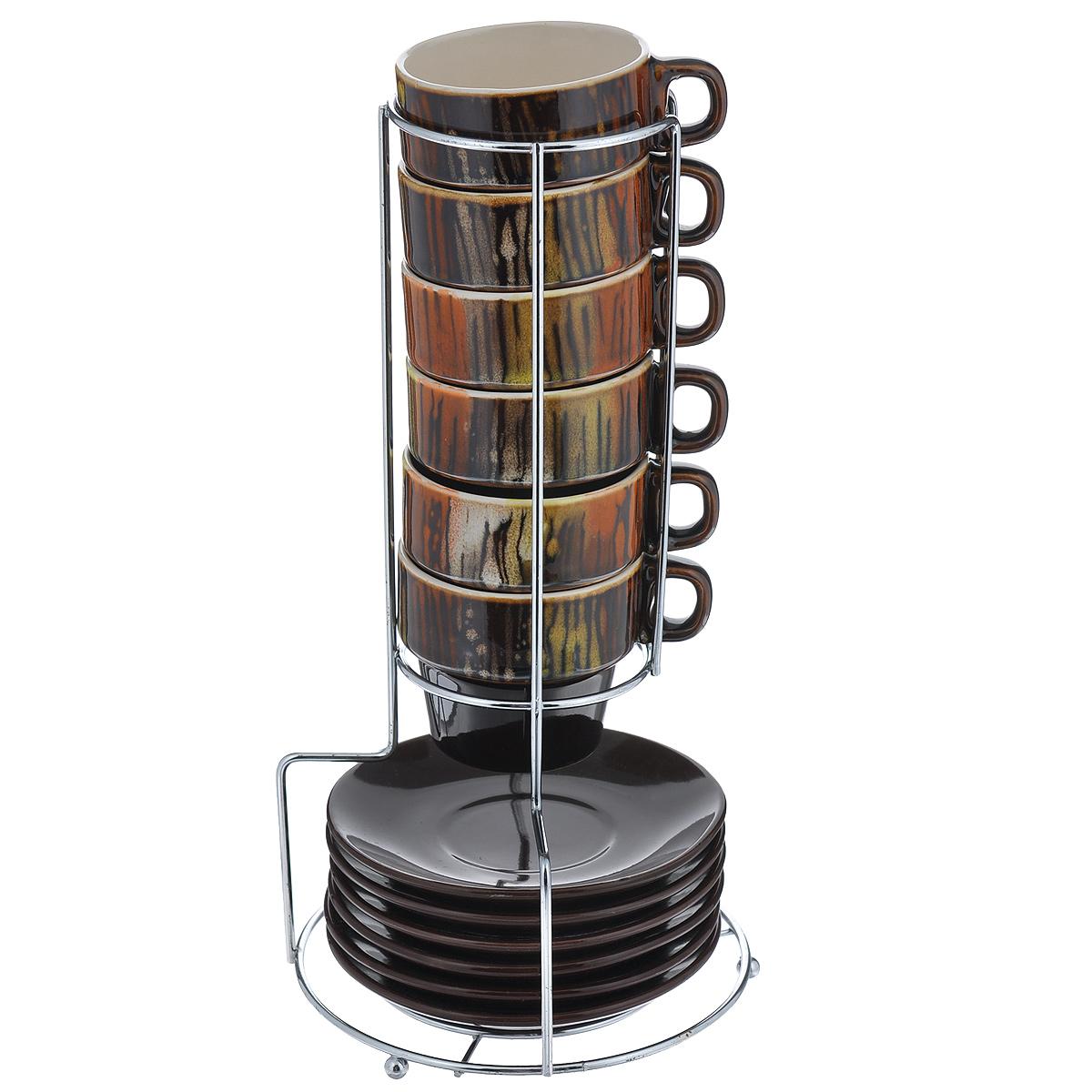 Набор кофейный Bekker Koch, цвет: коричневый, 13 предметов. 6807Аксион Т-33Набор кофейный Bekker Koch изготовлен из жаропрочной керамики. В набор входит: шесть чашек, шесть блюдец и одна подставка.Оригинальная подставка изготовлена из металла . Кофейный набор на подставке не займет много места. Набор кофейный Bekker Koch украсит ваш праздничный стол и порадует вас и ваших гостей необычным дизайном и изящными формами. Набор станет чудесным подарком к любому случаю.Можно мыть в посудомоечной машине. Диаметр чашки: 6,5 см. Высота чашки: 6 см. Диаметр блюдца: 11 см. Объем чашки: 90 мл. Размер подставки: 7,5 см х 13 см х 26,5 см.