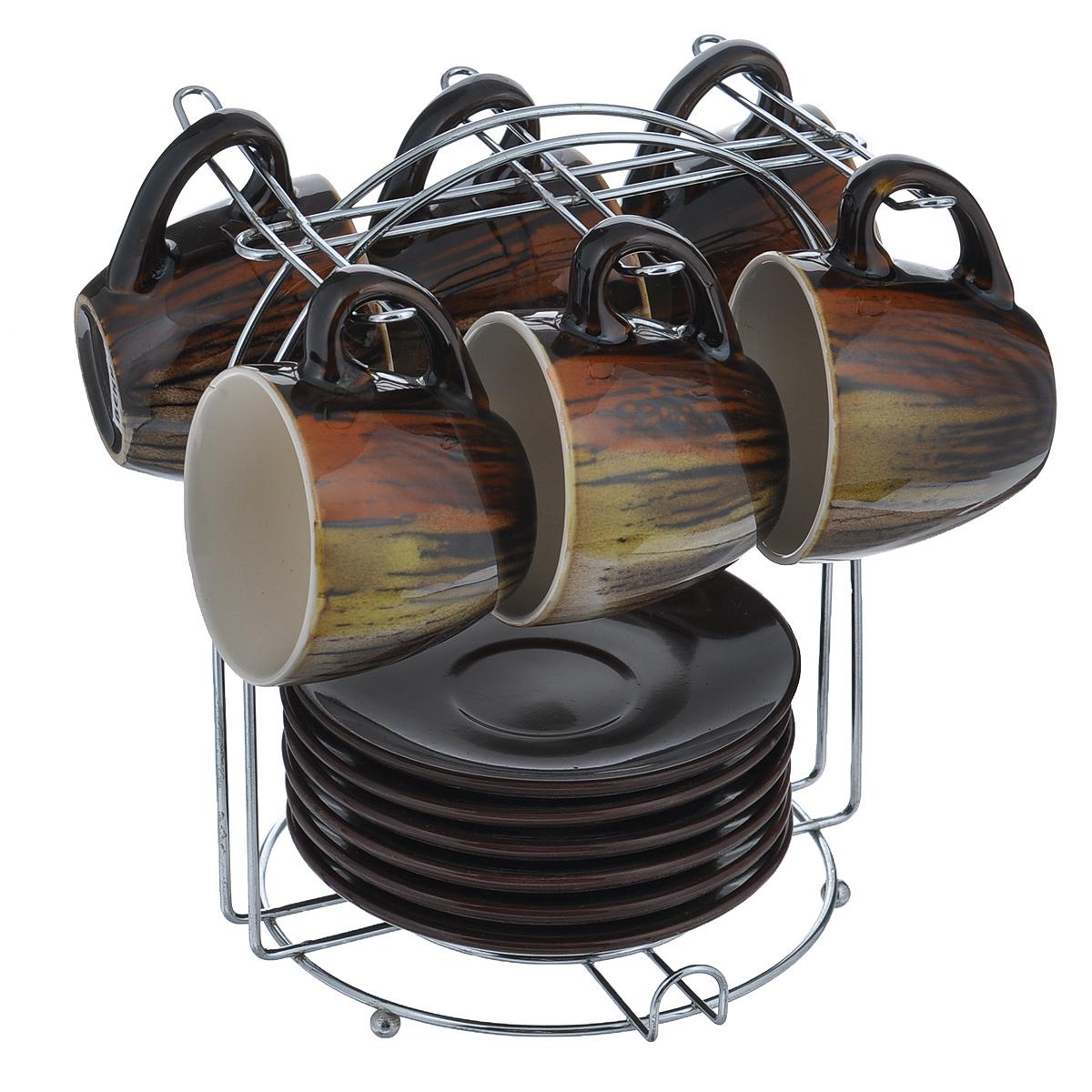 Набор кофейный Bekker Koch, цвет: коричневый, 13 предметовVT-1520(SR)Набор кофейный Bekker Koch изготовлен из жаропрочной керамики. В набор входит: шесть чашек, шесть блюдец и одна подставка.Подставка изготовлена из металла. Кофейный набор на подставке не займет много места. Набор кофейный Bekker Koch украсит ваш праздничный стол и порадует вас и ваших гостей необычным дизайном и изящными формами. Набор станет чудесным подарком к любому случаю.Можно мыть в посудомоечной машите. Диаметр чашки: 6,5 см. Высота чашки: 6 см. Диаметр блюдца: 11 см. Объем чашки: 90 мл. Размер подставки: 12 см х 16 см х 17 см.