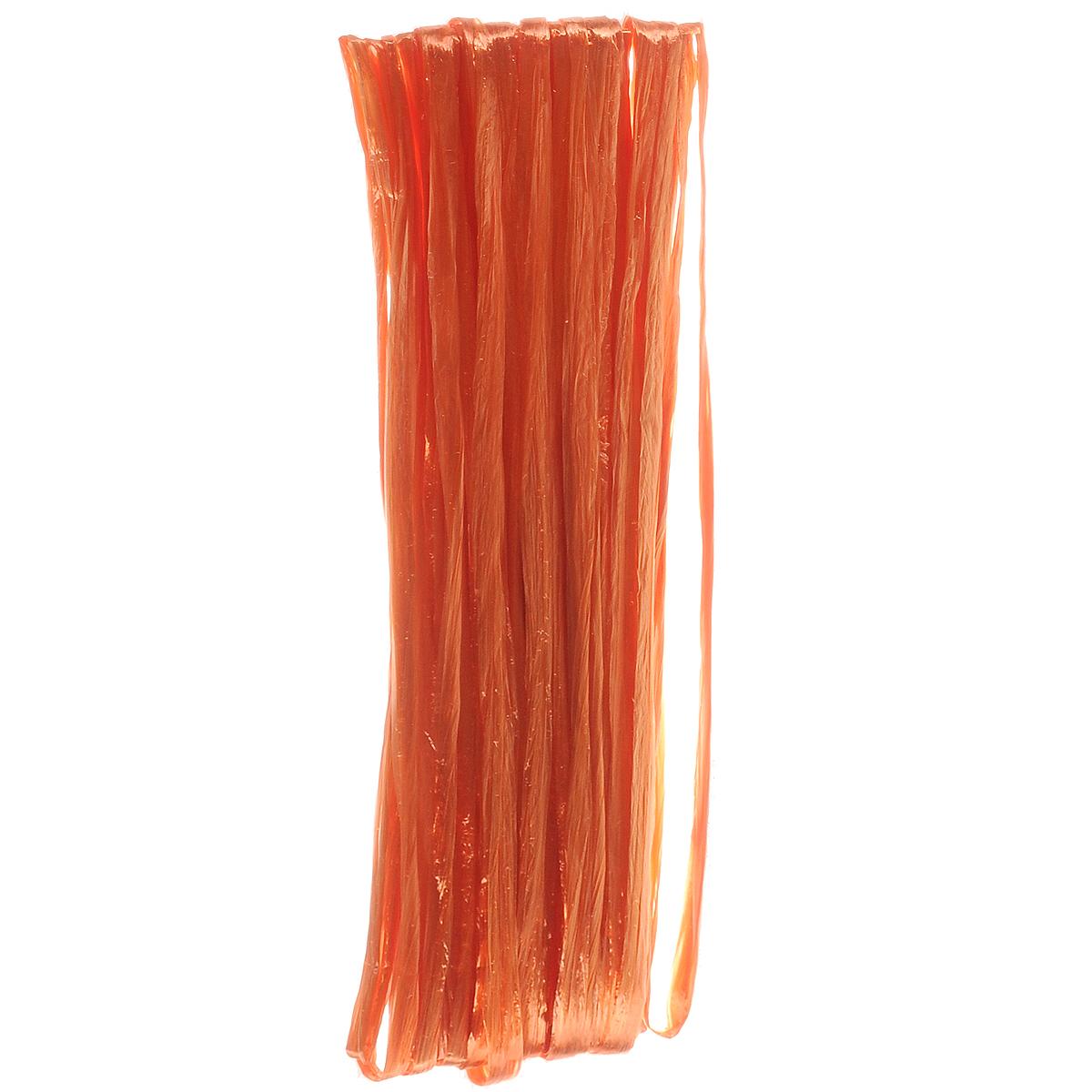 Рафия Hobby Time, цвет: оранжевый (443), длина 20 м55052Рафия Hobby Time, изготовленная из бумаги, широко применяется для упаковки подарков, оформления цветочных композиций. Бумажная рафия так же подойдет и в декоре работ в стиле скрапбукинг. Из нее можно изготовить оригинальные цветочные композиции. Расправьте рафию и вы получите широкую бумажную и мягкую ленту. Рукодельницы используют рафию вместо бумаги или в качестве декоративных лент для упаковки подарков. Например, окрашенную в разные цвета, рафию можно использовать в качестве ленты для украшения подарочных коробочек. Длина: 20 м.