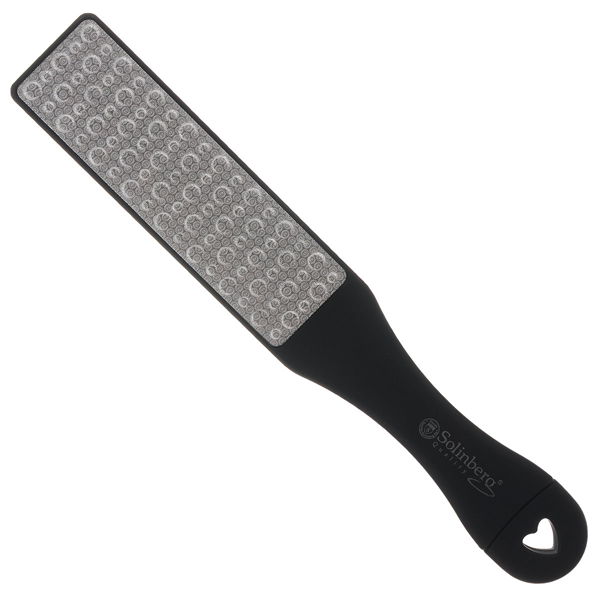Solinberg Терка для обработки мозолей и огрубевшей кожи ног GD-4800, двусторонняя261-4800Двусторонняя терка для ног Solinberg с лазерной перфорацией, с удобной пластиковой ручкой предназначена для сухого педикюра. Одна сторона - терка (с массажным эффектом), другая сторона - шлифовка. Специальные покрытия разной абразивности обеспечат бережный уход за вашими ногами. Способ применения: распарьте ступни ног и равномерными движениями удалите загрубевшую кожу. Пилочкой в ручке терки, при необходимости, обработайте ногти. После процедуры смажьте ступни смягчающим кремом.Товар сертифицирован.