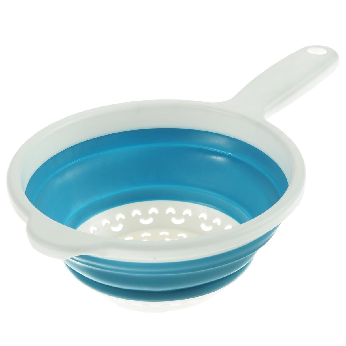 Дуршлаг складной Neo Way, цвет: белый, голубой, диаметр 20 см9046Складной дуршлаг Neo Way станет полезным приобретением для вашей кухни. Он изготовлен из высококачественного пищевого силикона и пластика. Дуршлаг оснащен удобной эргономичной ручкой со специальным отверстием для подвешивания. Изделие прекрасно подходит для процеживания, ополаскивания и стекания макарон, овощей, фруктов. Дуршлаг компактно складывается, что делает его удобным для хранения.Можно мыть в посудомоечной машине.Диаметр (по верхнему краю): 20 см.Максимальная высота: 8,5 см.Минимальная высота: 3 см.