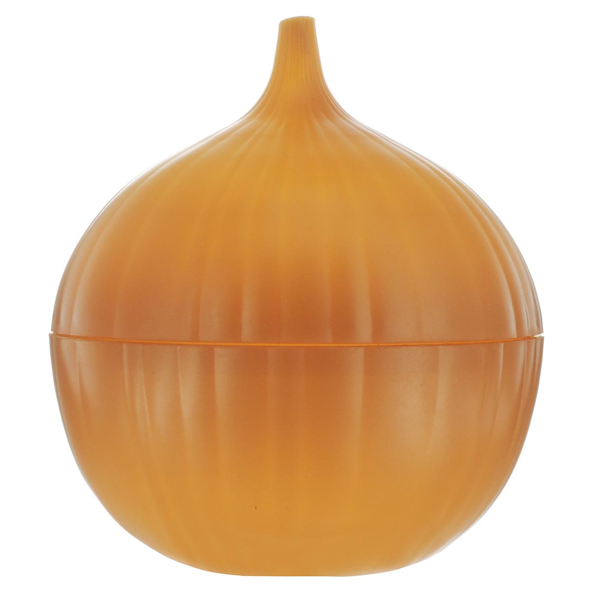 Контейнер для хранения лука FackelmannАксион Т-33Контейнер для хранения репчатого лука Fackelmann изготовлен из пластика. Контейнер дольше сохраняет полезные свойства разрезанного лука, предотвращает распространение запаха и бережет лук от высыхания.Оригинальный дизайн контейнера, выполненного в виде луковицы, украсит ваш кухонный стол. Размер контейнера: 11,5 см х 14 см х 11,5 см.