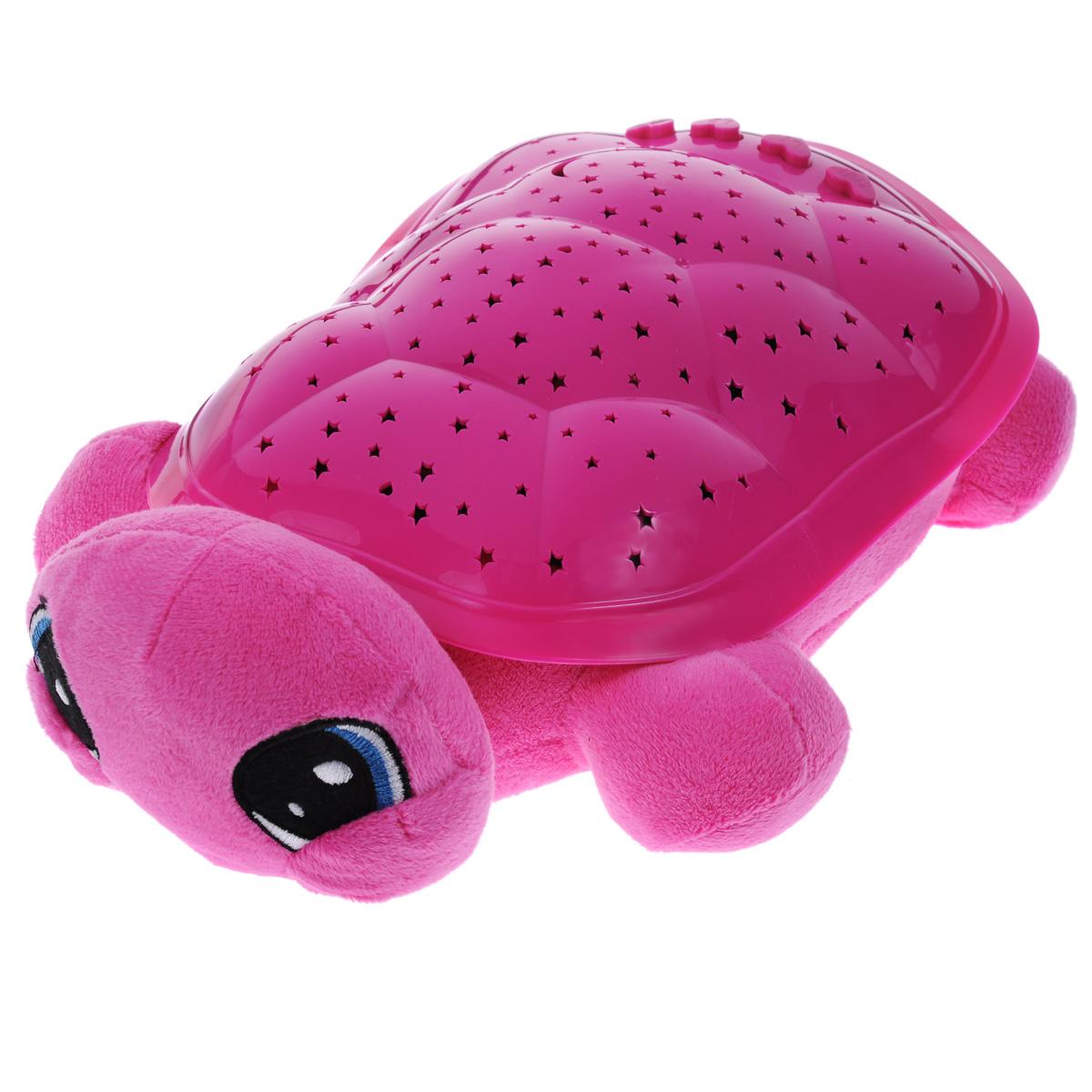Ночник-проектор Мульти-Пульти Волшебная черепаха, цвет: розовыйBY8006A-Ru_розоваяНочник-проектор Мульти-Пульти Волшебная черепаха создаст волшебную атмосферу для сна ребенка.Это удивительный светильник, выполненный в форме мягкой игрушки-черепашки. Дизайн игрушки наверняка сразу понравится вашему малышу и завоюет его безграничную любовь.Глазки и ротик черепашки вышиты нитками. Благодаря своему волшебному панцирю черепашка имеет возможность проецировать на потолок и стену звездное небо. Ночник может работать в четырех цветовых режимах: с подсветкой красного, синего, зеленого и оранжевого цветов. Режима мигания света также четыре. Для убаюкивания малыша черепашка проигрывает фрагменты следующих колыбельных: Спят усталые игрушки, Спи, моя радость, усни и Колыбельная медведицы.Для переключения режимов выбора цвета, мигания света и мелодий на панцире черепахи расположены специальные кнопки. В комплект входит инструкция по эксплуатации на русском языке.Необходимо докупить 3 батарейки напряжением 1,5V типа ААА (не входят в комплект).