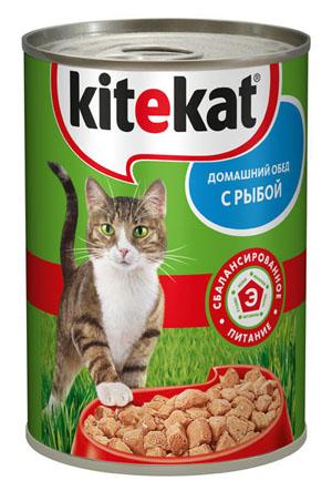 Консервы Kitekat Домашний обед для взрослых кошек, с рыбой, 410 г0120710Консервы для взрослых кошек Kitekat - полнорационный сбалансированный корм для кошек, который идеально подойдет вашему любимцу. Аппетитные мясные кусочки в нежном соусе содержат все питательные вещества, витамины и минералы, необходимые для сбалансированного питания вашей кошки каждый день. В рацион домашнего любимца нужно обязательно включать консервированный корм, ведь его главные достоинства - высокая калорийность и питательная ценность. Консервы лучше усваиваются, чем сухие корма. Также важно, что животные, имеющие в рационе консервированный корм, получают больше влаги. Корм не содержит сои, консервантов, ароматизаторов, искусственных красителей, усилителей вкуса.Состав: мясо и субпродукты (в том числе рыба минимум 4%), злаки, растительное масло, таурин, витамины, минеральные вещества. Анализ: белки - 6,5 г, жиры - 3,5 г, клетчатка - 0,3 г, зола - 2,5 г, витамин А - не менее 70 МЕ мг, витамин Е - не менее 0,9 мг, влага - 84 г. Вес 410 г.Товар сертифицирован.