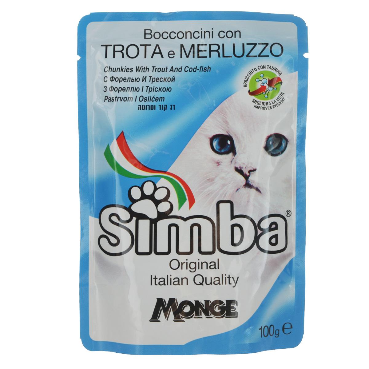 Консервы Monge Simba для взрослых кошек, с форелью и треской, 100 г70009362Консервы Monge Simba для взрослых кошек тщательно приготовлены из итальянского мяса и рыбы. Без добавления консервантов и антиоксидантов. Экологически чистое производство гарантирует высочайшее качество и длительные сроки хранения консервов. Тщательный отбор сырья и содержащийся в нем полный набор витаминов и микроэлементов обеспечивает отличную усвояемость и отсутствие проблем с пищеварением у ваших любимых питомцев.Состав: рыба и рыбные субпродукты 13%, (форель мин. 4,2%, треска мин. 4,2%), минеральные вещества, витамины.Пищевая ценность: протеин 8,0%, жир 5,0%, зола 2,2%, клетчатка 1,0%, влажность 82%.Витамины: витамин А 2000 МЕ/кг, витамин D3 200 МЕ/кг, витамин Е (альфа-токоферол 91%) 5 мг/кг.Товар сертифицирован.