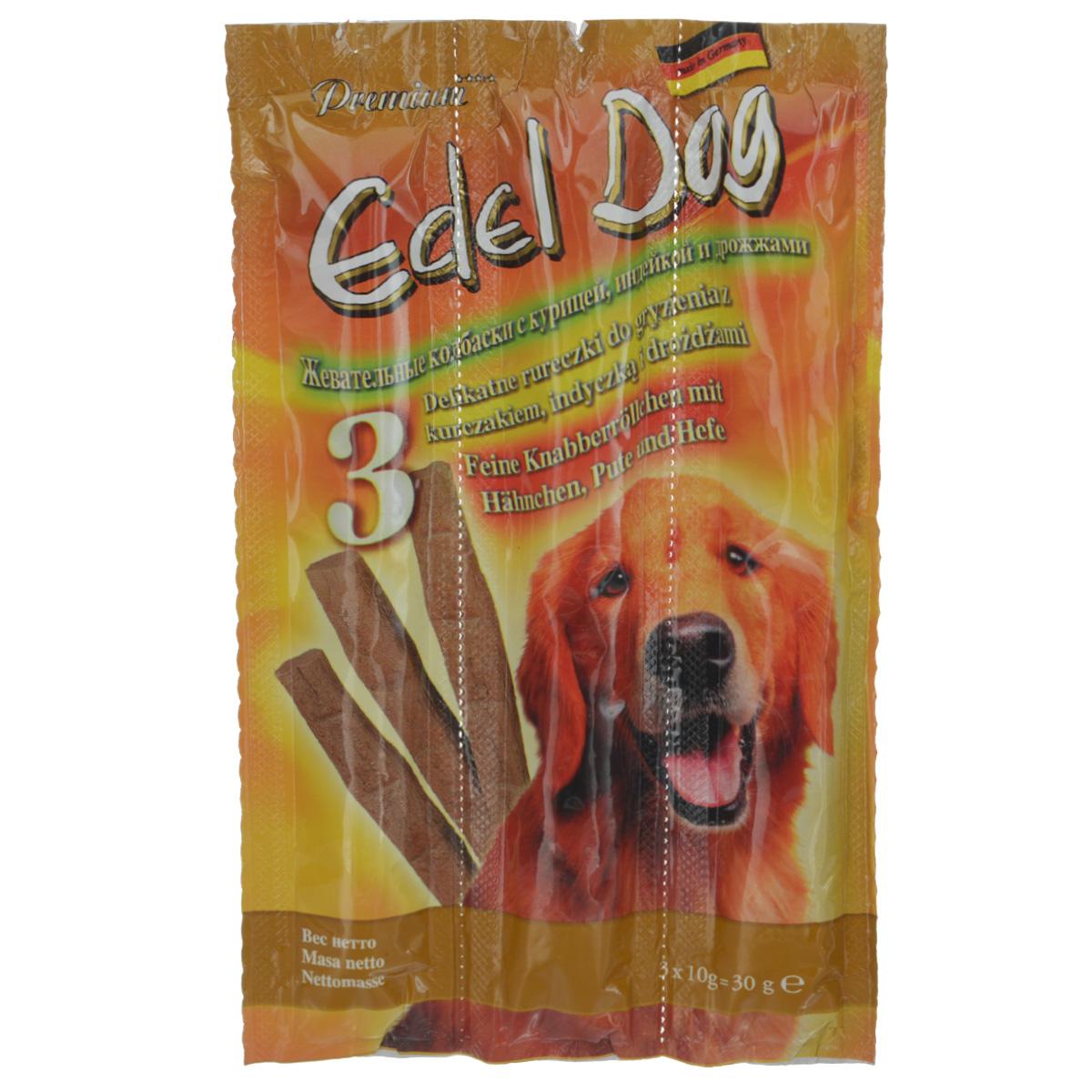 Колбаски жевательные Edel Dog для собак, с курицей, индейкой и дрожжами, 3 шт0120710Жевательные колбаски Edel Dog - это лакомство для собак. Используются в качестве лакомства и в дополнение к основному корму. На 95% состоят из свежего мяса с добавлением витаминно-минерального комплекса.Состав: мясо и мясопродукты (90%, в том числе 6% курицы, 6% индейки), дрожжи (4%), минеральные вещества.Технологические добавки: антиоксиданты, консерванты.Аналитический состав: сырой протеин 35%, влажность 27%, сырой жир 21%, сырая зола 9%, сырая клетчатка 0,5%.Товар сертифицирован.