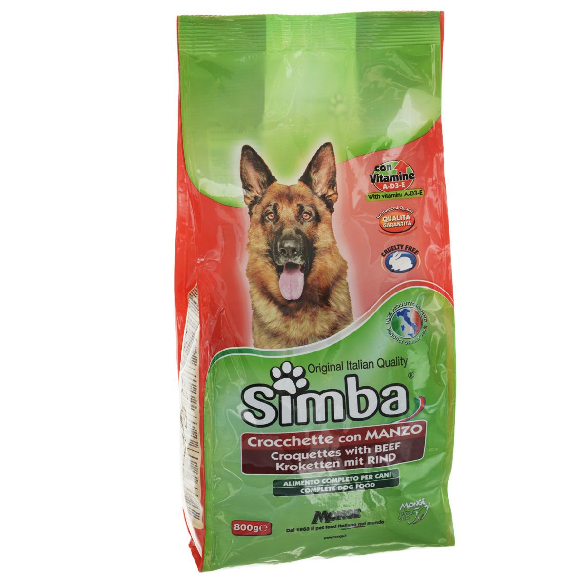 Корм сухой Monge Simba для взрослых собак, с говядиной, 800 г24361Сухой корм Monge Simba - это полноценный корм для собак с витаминами A, D3, E, которые способствуют укреплению здоровья и отличного состояния животных. Оптимальное содержание белка гарантируется наличием говяжьего мяса.Состав: злаки, мясо и мясопродукты (говядина мин. 4,1%), побочные продукты растительного происхождения, масла и жиры, витамины, минеральные вещества.Анализ компонентов: белок 21%, масла и жиры 8%, сырая клетчатка 4,5%, сырая зола 9,5%.Витамины и добавки на 1 кг: витамин А 10000 МЕ, витамин D3 700 МЕ, витамин Е 50 мг, сульфат марганца 80 мг (марганец 25 мг), оксид цинка 170 мг (цинк 120 мг), сульфат меди 40 мг (медь 10 мг), сульфат железа 290 мг (железо 87 мг), селенит натрия 0,39 мг (селен 0,17 мг), йодат кальция 2,20 мг (йод 1,40 мг), антиоксиданты ЕЭС.Товар сертифицирован.