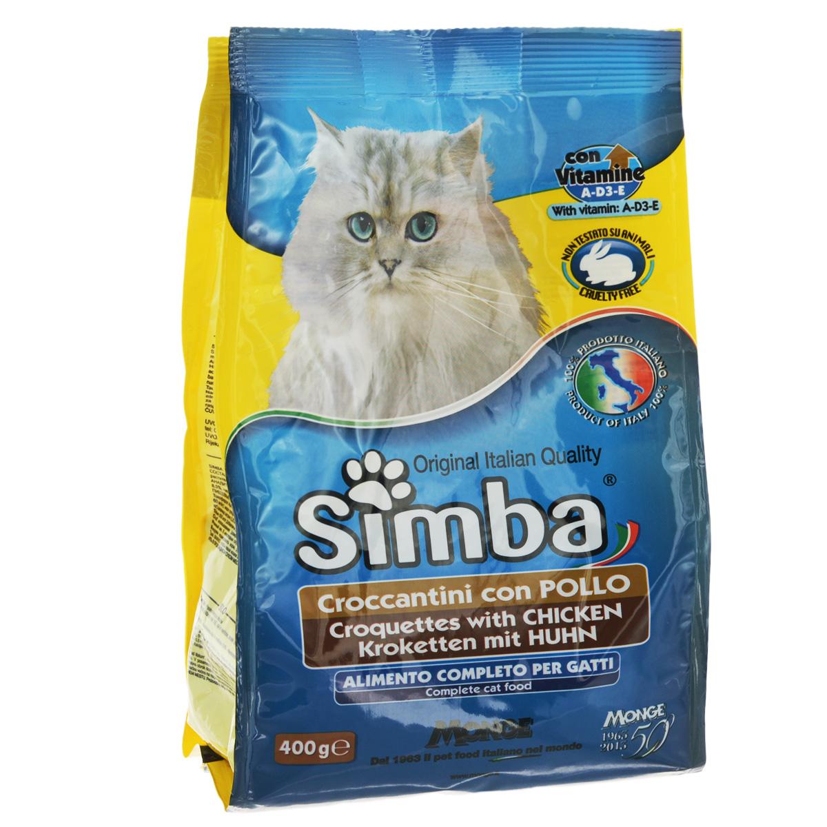 Корм сухой Monge Simba для взрослых кошек с курицей, 400 г70005562Сухой корм Monge Simba - это полноценный корм для кошек с витаминами A, D3, E, которые способствуют укреплению здоровья и отличного состояния животных. Оптимальное содержание белка гарантируется наличием куриного мяса.Состав: злаки, мясо и мясопродукты (курица мин. 5%), побочные продукты растительного происхождения, масла и жиры, витамины, минеральные вещества.Анализ компонентов: белок 21%, масла и жиры 11%, сырая клетчатка 2,5%, сырая зола 8,5%. Витамины и добавки на 1 кг: витамин А 11 500 МЕ, витамин D3 800 МЕ, витамин Е 80 мг, сульфат марганца 43 мг (марганец 15 мг), оксид цинка 90 мг (цинк 60 мг), сульфат меди 22 мг (медь 5,5 мг), сульфат железа 150 мг (железо 50 мг), селенит натрия 0,20 мг (селен 0,09 мг), йодат кальция 1,15 мг (йод 0,7 мг), таурин 500мг, антиоксиданты ЕЭС.Товар сертифицирован.