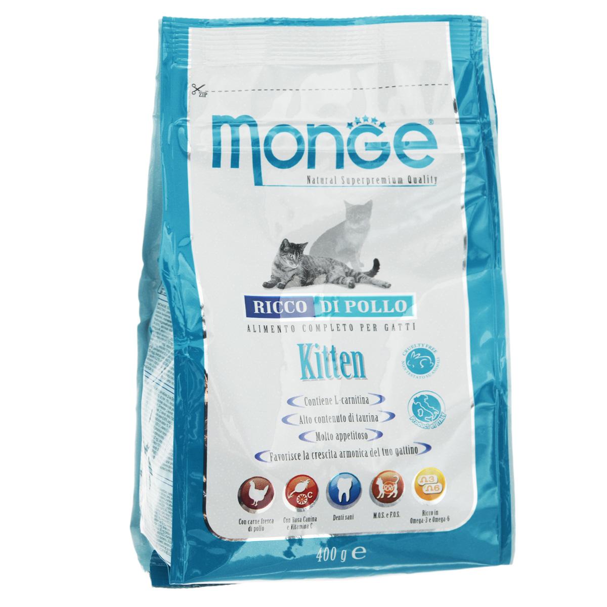 Корм сухой Monge для котят 400 г70004862Сухой корм Monge - это полноценный рацион для котят. Для ваших котят моложе года, а также для беременных и кормящих кошек, данный корм является идеальным для здорового и сбалансированного роста. В корме содержатся продукты, богатые белками высокой биологической ценностью, обеспечивая ваших питомцев необходимыми пищевыми и энергетическими потребностями в питании. Более того, оптимальное соотношение жирных кислот Омега-3 и Омега-6 эффективно борются с аллергическими реакциями. Состав корма обеспечит здоровое сердце и остроту зрения, а также идеальный контроль над кишечной флорой. Высокое содержание глюкозамина и хондроитина способствует здоровым суставам.Состав: куриное мясо (свежее мин. 10%, обезвоженное 38%), кукурузный глютен, кукуруза, рис (мин. 6%), куриное масло, свекольный жом, масло лосося, дрожжи, яичный крахмал, целлюлоза (волокна гороха), Юкка Шидигера, фруктоолигосахариды 336 мг/кг, маннан-олигосахариды 336 мг/кг.Анализ: протеин 34%, масла и жиры 20%, сырая клетчатка 2,5%, сырая зола, 8,5% магний 0,15%, кальций 1,8%, фосфор 1,37%, линолевая кислота 4,60%, Омега-6 3,74%, Омега-3 0,76%.Пищевые добавки, витамины: витамин А 25750 МЕ/кг, витамин D3 1788 МЕ/кг, витамин Е 165 мг/кг, витамин С 46 мг/кг, таурин 917 мг/кг, холина хлорид 200 мг/кг, хлорид натрия 3820 мг/кг, витамин B1 19 мг/кг, витамин B2 13 мг/кг, витамин В6 6 мг/кг, витамин В12 1,14 мг/кг, биотин 0,34 мкг / кг, витамин РР 32 мг/кг, цинк 140 мг/кг, железо 87 мг/кг, марганец 33 мг/кг, медь 14 мг/кг, йод 0,87 мг/кг, аминокислоты (метионин 685 мг/кг).Товар сертифицирован.Уважаемые клиенты! Обращаем ваше внимание на возможные изменения в дизайне упаковки. Качественные характеристики товара остаются неизменными. Поставка осуществляется в зависимости от наличия на складе.