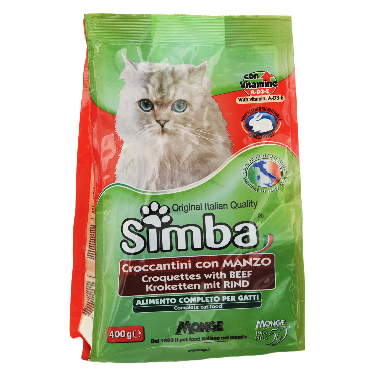Корм сухой Monge Simba для взрослых кошек, с говядиной, 400 г0120710Сухой корм Monge Simba - это полноценный корм для кошек с витаминами A, D3, E, которые способствуют укреплению здоровья и отличного состояния животных. Оптимальное содержание белка гарантируется наличием говяжьего мяса.Состав: злаки, мясо и мясопродукты (говядина мин. 5%), побочные продукты растительного происхождения, масла и жиры, витамины, минеральные вещества.Анализ компонентов: белок 21%, масла и жиры 11%, сырая клетчатка 2,5%, сырая зола 8,5%. Витамины и добавки на 1 кг: витамин А 11 500 МЕ, витамин D3 800 МЕ, витамин Е 80 мг, сульфат марганца 43 мг (марганец 15 мг), оксид цинка 90 мг (цинк 60 мг), сульфат меди 22 мг (медь 5,5 мг), сульфат железа 150 мг (железо 50 мг), селенит натрия 0,20 мг (селен 0,09 мг), йодат кальция 1,15 мг (йод 0,7 мг), таурин 500 мг, антиоксиданты ЕЭС.Товар сертифицирован.