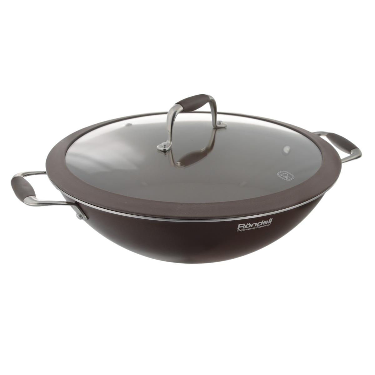 Сковорода-вок Rondell Mocco с крышкой, с антипригарным покрытием. Диаметр 32 см крышка rondell mocco диаметр 28 см