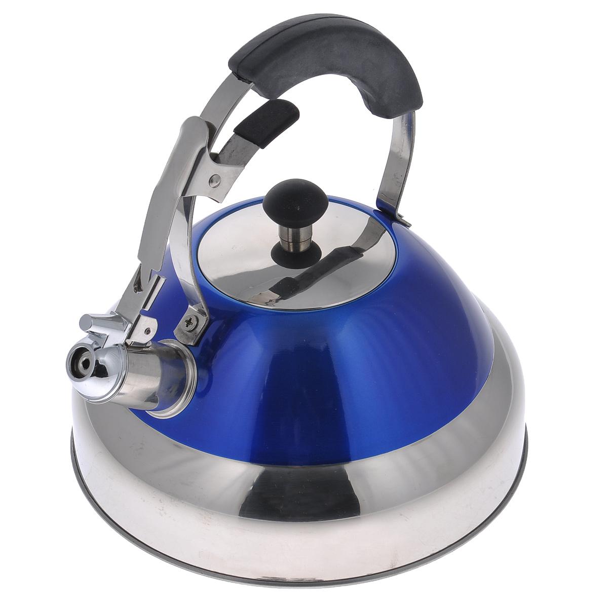 Чайник Bekker De Luxe со свистком, цвет: синий, 2,7 л. BK-S42354 009312Чайник Bekker De Luxe выполнен из высококачественной нержавеющей стали, что обеспечивает долговечность использования. Внешнее цветное эмалевое покрытие придает приятный внешний вид. Металлическая фиксированная ручка с силиконовым покрытием делает использование чайника очень удобным и безопасным. Чайник снабжен свистком и устройством для открывания носика. Изделие оснащено капсулированным дном для лучшего распространения тепла.Можно мыть в посудомоечной машине. Пригоден для всех видов плит кроме индукционных. Высота чайника (без учета крышки и ручки): 11 см.Высота чайника (с учетом ручки): 24 см. Диаметр основания: 22,5 см.