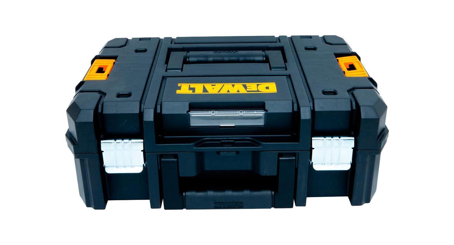 Ящик для инструмента DeWalt TSTAK II2706 (ПО)Ящик для инструментов DeWALT DWST1-70703 оснащен двухкомпонентной рукояткой и двумя надежными металлическими защелками. Он предназначен для переноски и хранения различного вида инструмента. Его корпус изготовлен из прочного пластика.