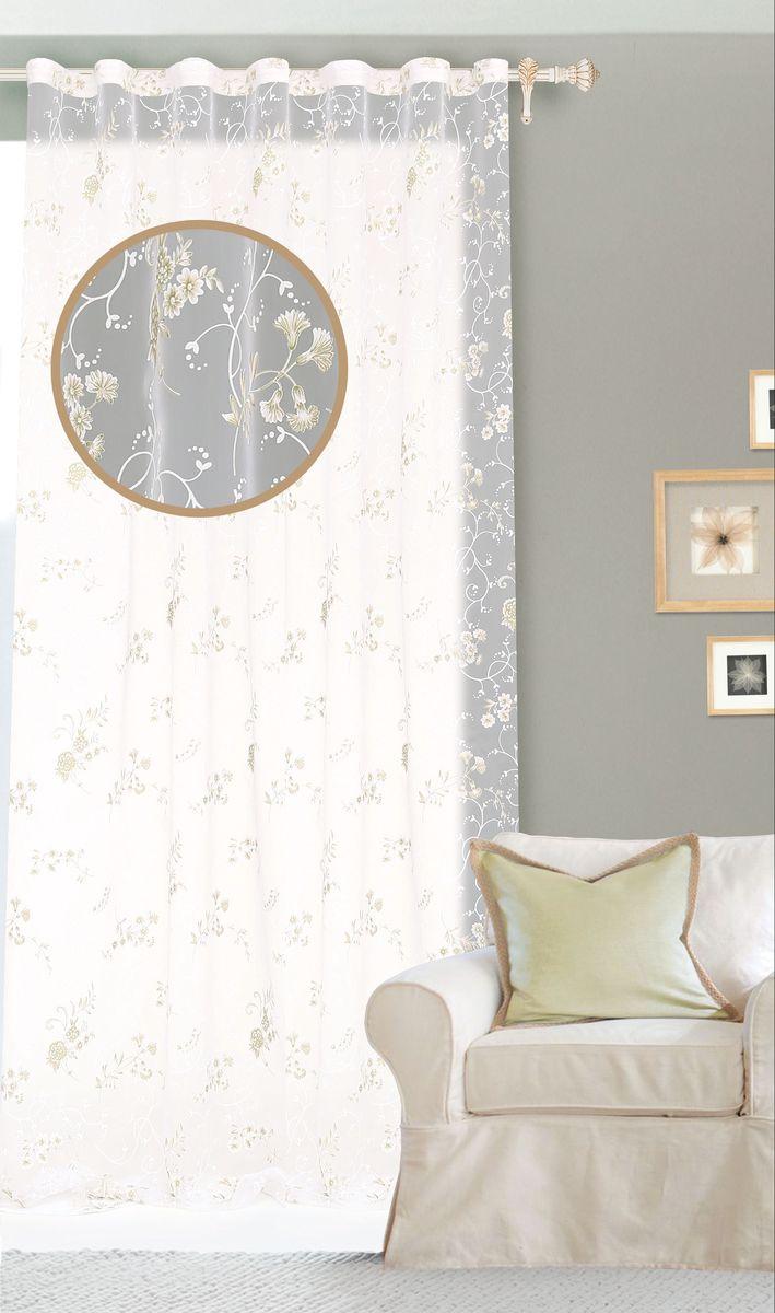 Штора готовая для гостиной Garden, на ленте, цвет: белый, зеленый, размер 300*260 см. С 3201-W1160 V4SVC-300Изящная тюлевая штора Garden выполнена из органзы (полиэстера с добавлением хлопка). Полупрозрачная ткань, приятная цветовая гамма, цветочный принт привлекут к себе внимание и органично впишутся в интерьер помещения. Такая штора идеально подходит для солнечных комнат. Мягко рассеивая прямые лучи, она хорошо пропускает дневной свет и защищает от посторонних глаз. Отличное решение для многослойного оформления окон. Эта штора будет долгое время радовать вас и вашу семью!Штора крепится на карниз при помощи ленты, которая поможет красиво и равномерно задрапировать верх.