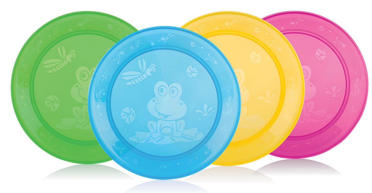 Набор тарелок Nuby, диаметр 19 см, 4 шт115510Набор Nuby включает 4 круглых разноцветных тарелки, изготовленных из высококачественного пищевого пластика (не содержит бисфенол А). Изделия оформлены рельефом в виде лягушат и стрекоз. Нескользящее покрытие придает тарелкам большую устойчивость. Прекрасно подходят для вторых блюд и каш. Для детей с 9-ти месяцев. Разные цвета помогут создать праздник для вашего малыша. Можно использовать во время пикника.Можно мыть в посудомоечной машине и ставить в СВЧ-печь. Диаметр тарелки: 19 см.