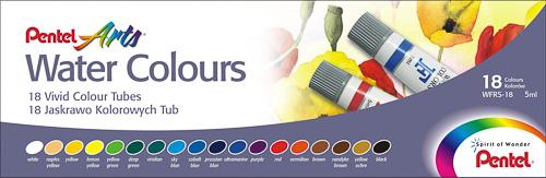 Акварель Pentel Water Colours, 18 цветовFS-00103Акварельные краски Pentel Water Colours помогут воплотить в жизнь любые художественные замыслы на занятиях в школах, детских садах, художественных кружках или дома. Яркие насыщенные цвета делают процесс рисования более увлекательным. В набор входят краски 18 цветов в пластиковых тубах. Краски не выгорают, не трескаются при высыхании, легко смешиваются.Кисточка в комплект не входит. Количество цветов: 15.Размер тюбика: 7 см х 1,5 см.