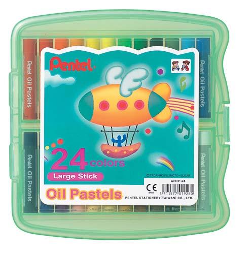 Пастель масляная Pentel Oil Pastels, в цветном боксе, 24 цветаGHTP24Пастель масляная Pentel Oil Pastels изготовлена из натуральных компонентов и не содержит вредных примесей. Соответствует европейскому стандарту качества EN71, утвержденному для детских товаров. Пастелью можно рисовать в любой технике (в сочетании с цветными карандашами, красками). При работе пастелью лучше использовать шероховатые поверхности - специальные бумаги, картон, холст. Пастель отличают яркие долговечные цвета, стойкие к воздействию света. Для удобства использования краски имеют форму мелков. Набор упакован в пластиковый бокс. Длина мелка: 6 см. Количество цветов: 24.