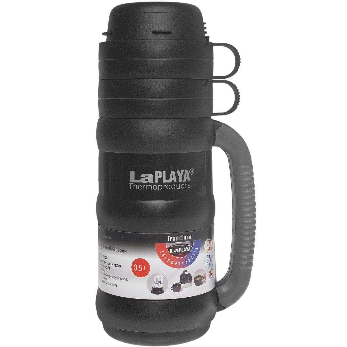Термос LaPlaya Traditional 35, цвет: черный, 500 млVT-1520(SR)Термос со стеклянной колбой LaPlaya Traditional 35 предназначен для супов, горячих и охлажденных напитков.Особенности термоса:Прочная и надежная стеклянная колба.Полноразмерная чашка с ручкой.Завинчивающаяся пробка с контейнером для сахара, пакетика чая, кофе, сухого молока.Прорезиненная ручка для надежного захвата против выскальзывания.Высота термоса: 28 см.Диаметр термоса (без учета ручки): 10 см.Сохраняет тепло: 8 ч.Сохраняет холод: 24 ч.