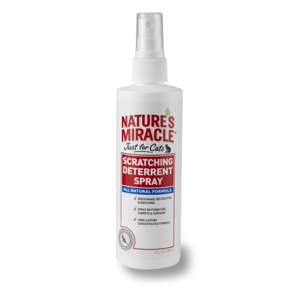 Отпугивающий спрей против царапанья 8 in 1 Natures Miracle, для кошек, 236 мл0120710Спрей 8 in 1 Natures Miracle - эффективное средство, отучающее от привычки царапать вещи. Спрей нейтрализует запах секрета подушечек кошек, который выделяется при царапанье, и тем самым отбивает желание повторять заточку когтей. Кроме того, средство содержит натуральные репелленты, запах которых не нравится кошкам, и они перестают царапать обработанный предмет.Применение: Перед применением хорошо встряхнуть. Распылите средство на поверхность или предмет, о который кошка точит когти. При необходимости повторить. Внимание! Не распылять непосредственно на животное.Состав: натрия лаурилсульфат - 0,3%, масло корицы - 0,12%, масло лимонной травы - 0,12%, масло лемонграсса - 0,12%, вода, бензоат натрия. Товар сертифицирован.