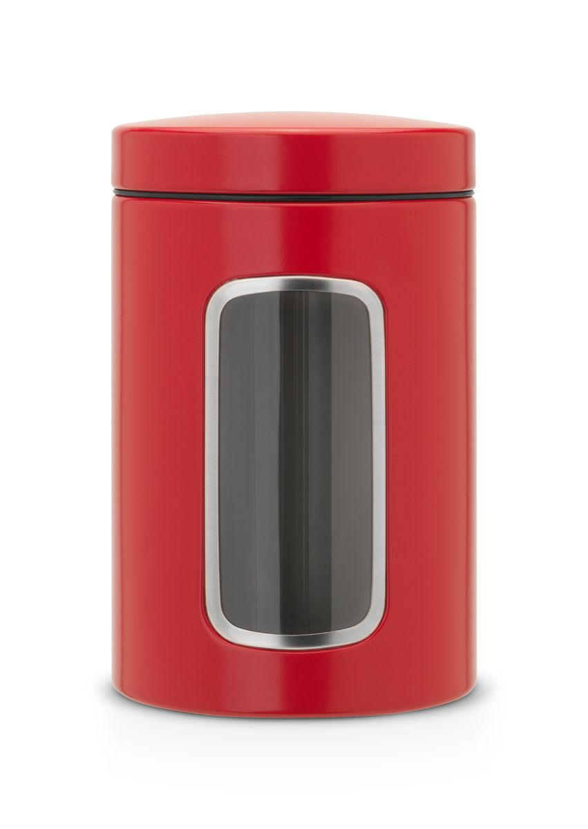 Контейнер Brabantia, цвет: красный, 1,4 л. 484063484063Контейнер Brabantia изготовлен из антикоррозийной стали с защитным покрытием. Он имеет прозрачную пластиковую стенку. Благодаря антистатической поверхности содержимое контейнера не прилипает к пластиковому окошку. Герметичная крышка не пропускает запахи и позволяет дольше сохранять свежесть и аромат продуктов.Удобный и легкий контейнер позволит вам хранить всевозможные продукты, а благодаря современному дизайну он впишется в любой интерьер. Размер контейнера: 11 см х 11 см х 17 см. Объем контейнера: 1,4 л.