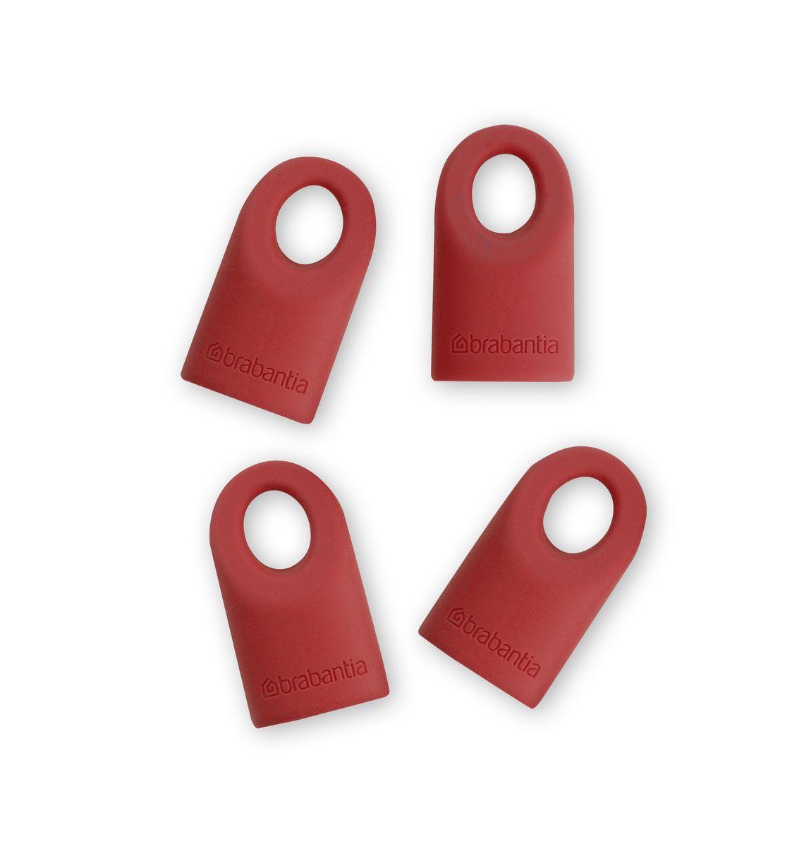 Силиконовые колпачки Brabantia Accent, цвет: красный, 4 шт21395599Силиконовые колпачки Brabantia Accent предназначены для кухонных принадлежностей линии Accent. Просто наденьте колпачок на нужную кухонную принадлежность. Используя съемные колпачки разных цветов, вы можете создавать свой оригинальный стиль. Колпачки оснащены специальными отверстиями для крючков.Длина колпачка: 4 см.