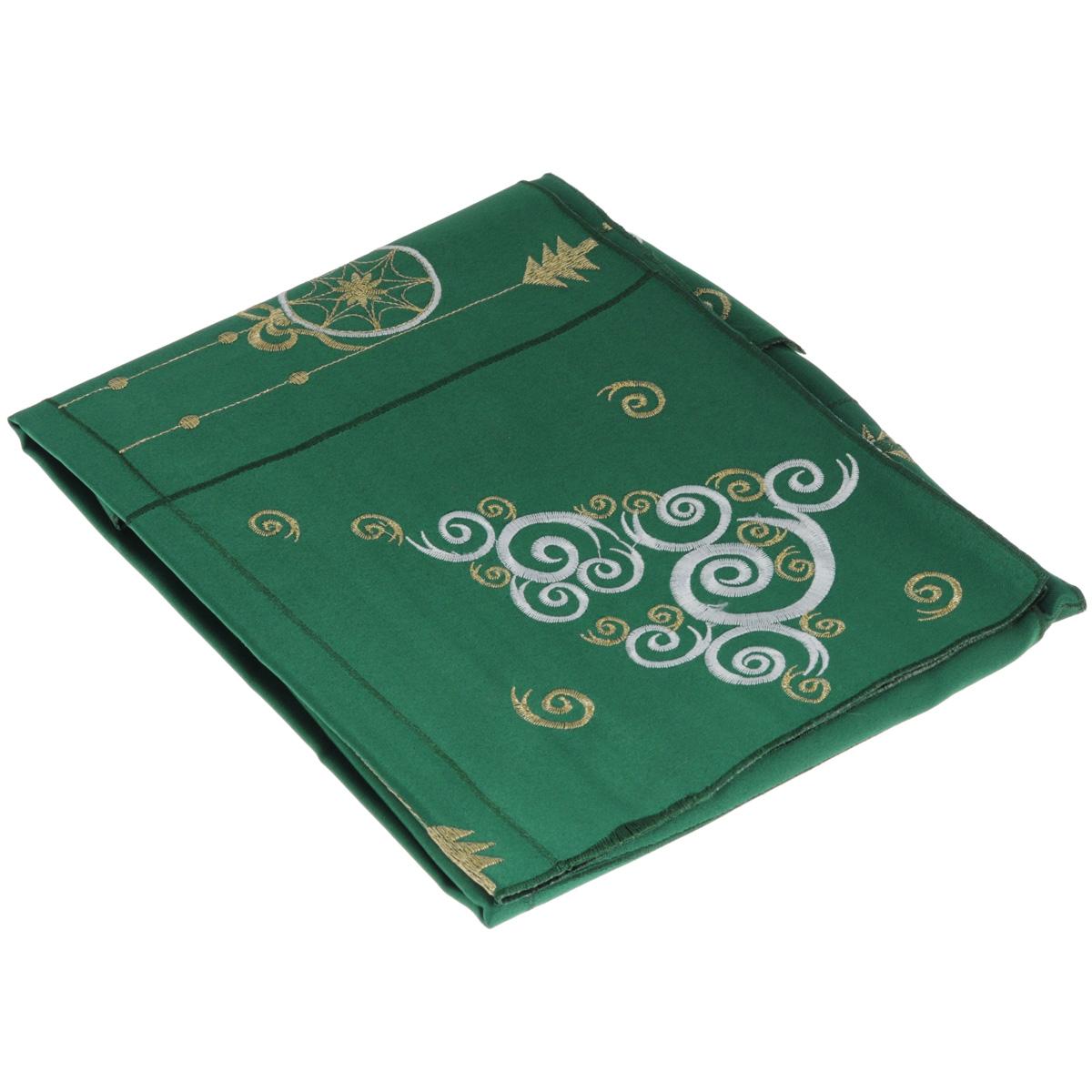 Скатерть Home Queen Елочка, квадратная, цвет: зеленый, 85x 85 смVT-1520(SR)Новогодняя скатерть Queen Елочка изящно украсит праздничный стол. Изделие выполнено из плотной полиэстеровой ткани, украшенной яркой декоративной ажурной вышивкой в виде ажурной елочки. Изделие можно использовать поверх однотонной скатерти или в качестве самостоятельного покрытия на стол. Скатерть Queen Елочка создаст новогоднее настроение и станет прекрасным дополнением интерьера гостиной, кухни или столовой.