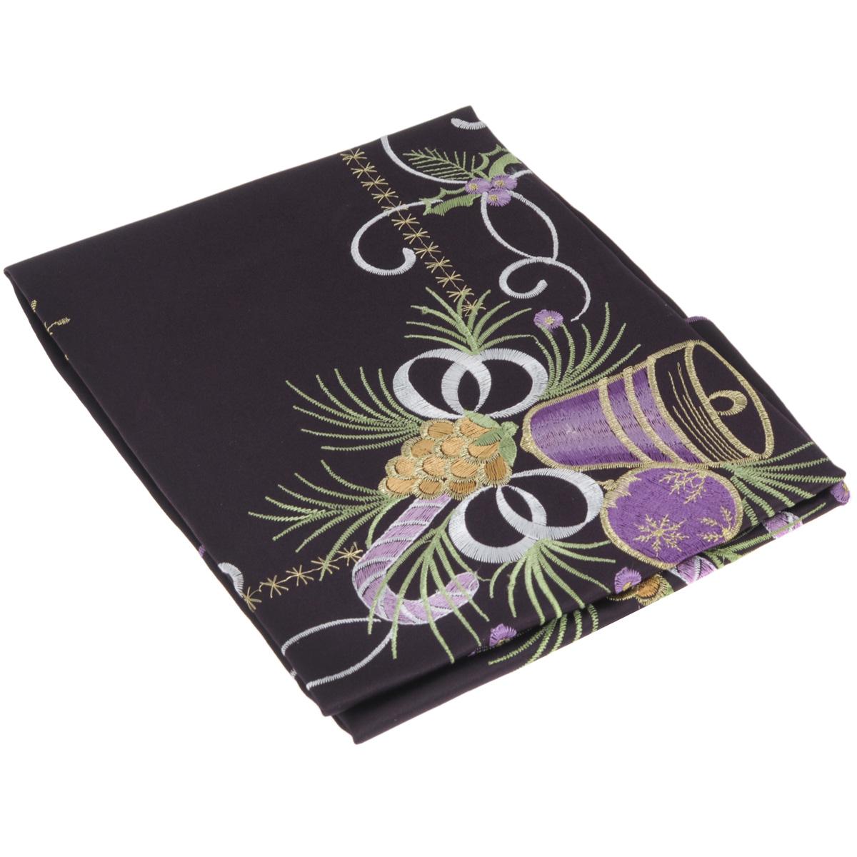 Скатерть Home Queen Колокольчик, квадратная, цвет: фиолетовый, 85x 85 смVT-1520(SR)Новогодняя скатерть Queen Колокольчик изящно украсит праздничный стол. Изделие выполнено из плотной полиэстеровой ткани, украшенной яркой декоративной ажурной вышивкой в виде колокольчиков. Изделие можно использовать поверх однотонной скатерти или в качестве самостоятельного покрытия на стол. Скатерть Queen Колокольчик создаст новогоднее настроение и станет прекрасным дополнением интерьера гостиной, кухни или столовой.