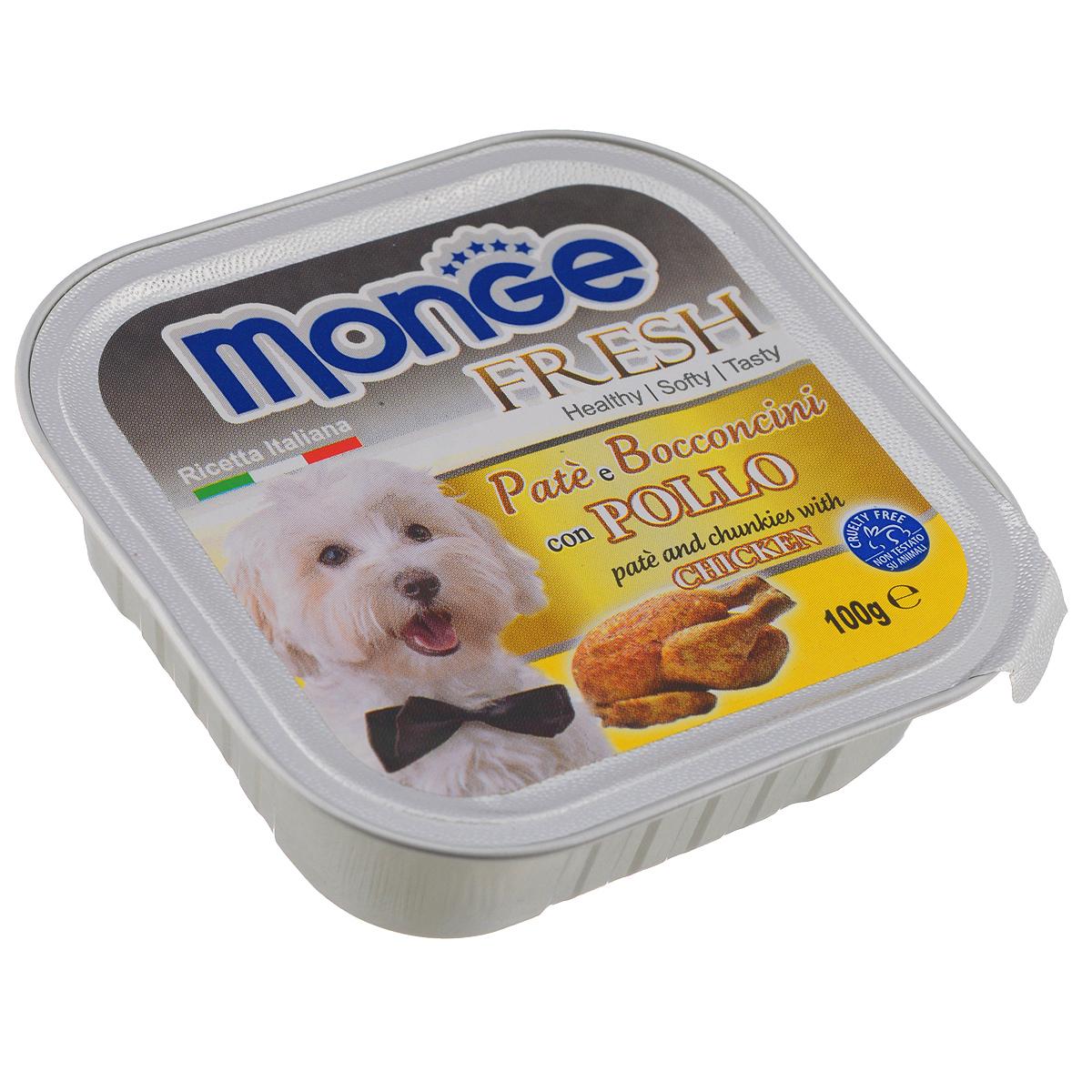 Консервы для собак Monge Fresh, с курицей, 100 г0120710Консервы для собак Monge Fresh - это полнорационный корм для собак. Паштет с мясом курицы. Состав: свежее мясо 80% (содержание курицы мин. 10%), минеральные вещества, витамины. Технологические добавки: загустители и желирующие вещества. Анализ компонентов: белок 9%, жир 7%, сырая клетчатка 0,5%, сырая зола 1,2%, влажность 82%. Витамины и добавки на 1 кг: витамин А 3000МЕ, витамин D3 400 МЕ, витамин Е 15 мг. Товар сертифицирован.