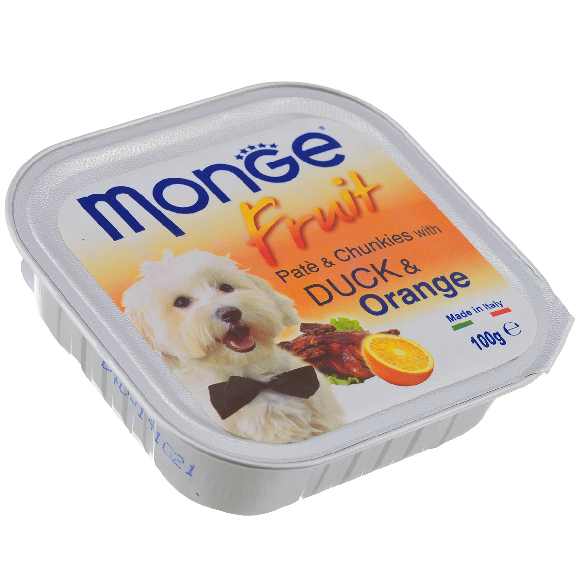 Консервы для собак Monge Fruit, утка с апельсином, 100 г70013239Консервы для собак Monge Fruit - это полнорационный корм для собак. Паштет с уткой и апельсином. Состав: свежее мясо 80% (содержание утиного мяса мин. 10%), апельсин 4%, минеральные вещества, витамины. Технологические добавки: загустители и желирующие вещества. Анализ компонентов: белок 8,5%, жир 7%, сырая клетчатка 0,5%, сырая зола 2,2%, влажность 80%. Витамины и добавки на 1 кг: витамин А 3000 МЕ, витамин D3 400 МЕ, витамин Е 15 мг. Товар сертифицирован.