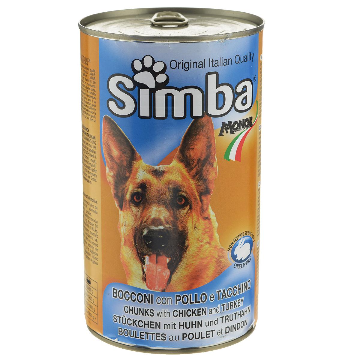 Консервы для собак Monge Simba, кусочки с курицей и индейкой, 1230 г0120710Консервы для собак Monge Simba - это полноценный сбалансированный корм для собак. Кусочки с курицей и индейкой в соусе. Ежедневная норма для собаки среднего размера - 800 г.Состав: мясо домашней птицы и мясные субпродукты (цыпленок не менее 14%, индейка не менее 10%), злаки, минеральные вещества, витамины, натуральные красители и вкусовые добавки. Анализ компонентов: протеин 8%, жир 6%, клетчатка 1,21%, зола 3%, влажность 80%.Витамины и добавки на 1 кг: витамин А 2000 МЕ, витамин D3 200 МЕ, витамин Е 5 мг. Товар сертифицирован.
