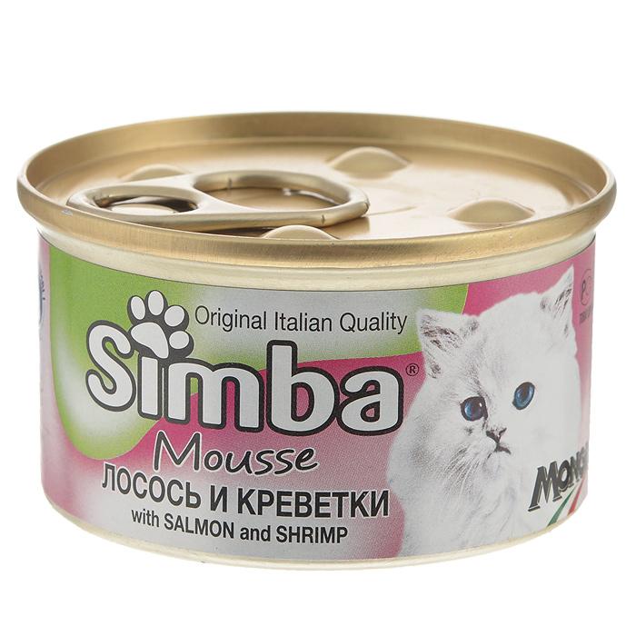 Консервы для кошек Monge Simba, мусс с лососем и креветками, 85 г37240Консервы для кошек Monge Simba - это полноценный сбалансированный корм для кошек. Мусс с лососем и креветками. Ежедневная норма для кошки среднего размера (3-4 кг) - 400 г. Порцию можно разделить на несколько приемов.Состав: рыба и рыбные субпродукты (лосось 7%, креветки 7%), мясо и мясные субпродукты, злаки, минеральные вещества. Анализ компонентов: сырой белок 11%, сырой жир 2,5%, сырая клетчатка 0,5%, сырая зола 2%, влажность 78%.Витамины и добавки на 1 кг: витамин D3 250 МЕ, витамин Е 5 мг, загустители, желирующие вещества. Товар сертифицирован.