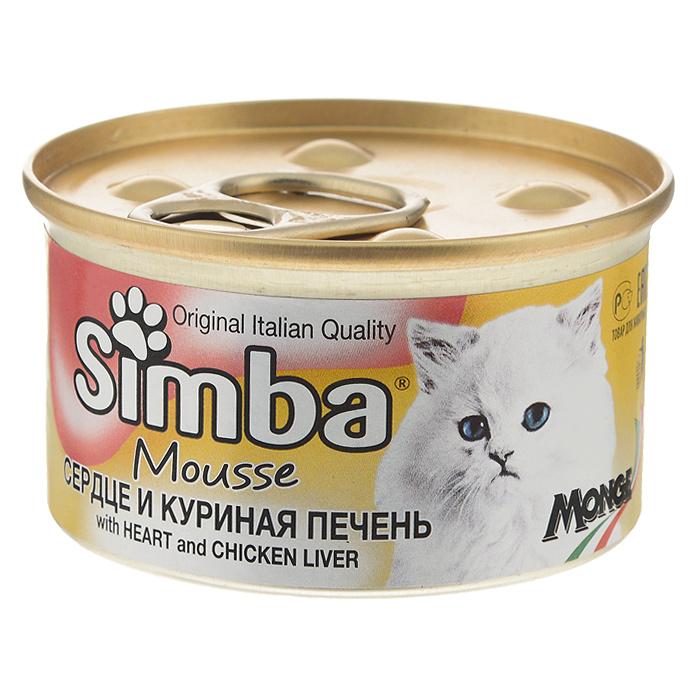 Консервы_для_кошек_Monge_~Simba~_-_это_полноценный_сбалансированный_корм_для_кошек._Мусс_с_сердцем_и_куриной_печенью._Ежедневная_норма_для_кошки_среднего_размера_(3-4_кг)_-_400_г._Порцию_можно_разделить_на_несколько_приемов.Состав:_мясо_и_мясные_субпродукты_(сердце_6,5%25,_куриная_печень_4,5%25),_злаки,_минеральные_вещества._Анализ_компонентов:_сырой_белок_8,5%25,_сырой_жир_6%25,_сырая_клетчатка_0,5%25,_сырая_зола_2%25,_влажность_78%25.Витамины_и_добавки_на_1_кг:_витамин_D3_250_МЕ,_витамин_Е_5_мг,_загустители,_желирующие_вещества._Товар_сертифицирован.