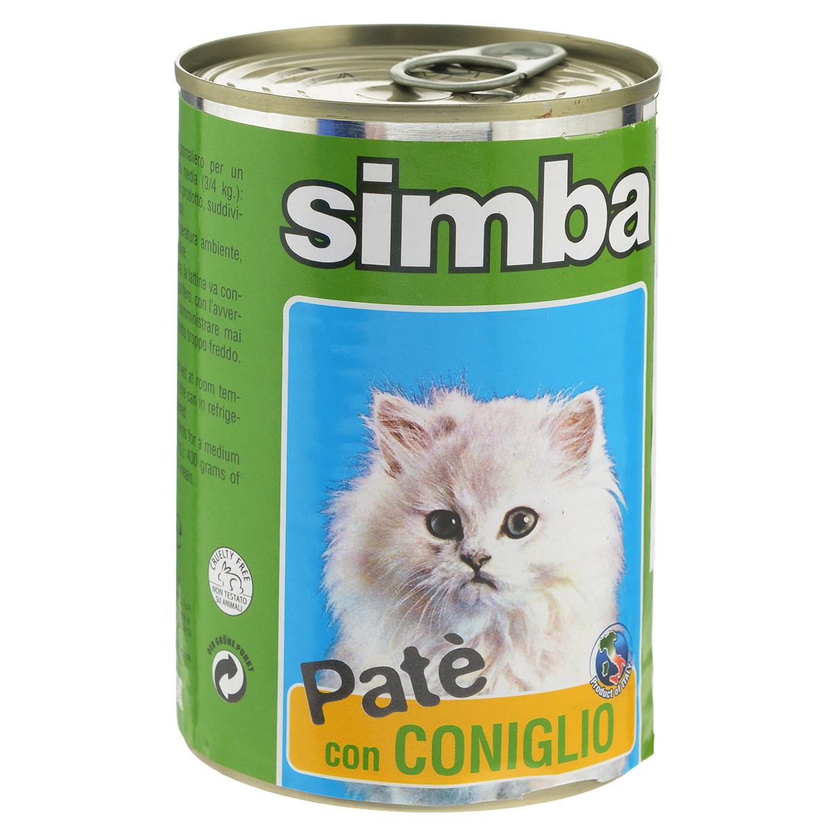 Консервы для кошек Monge Simba, паштет с кроликом, 400 г0120710Консервы для кошек Monge Simba - это полноценное питание для кошек. Паштет с кроликом. Ежедневная норма для кошки среднего размера (3-4 кг) - 400 г. Состав: мясо и мясные субпродукты 60% (в том числе кролик 6%), минеральные вещества, витамины, технологические добавки - загустители и желирующие вещества. Анализ компонентов: сырой белок 8%, сырой жир 7,5%, сырая клетчатка 0,4%, зола 2,1%, влажность 81%.Витамины и добавки на 1 кг: витамин А 1200 МЕ, витамин D3 160 МЕ, витамин Е 5 мг. Товар сертифицирован.